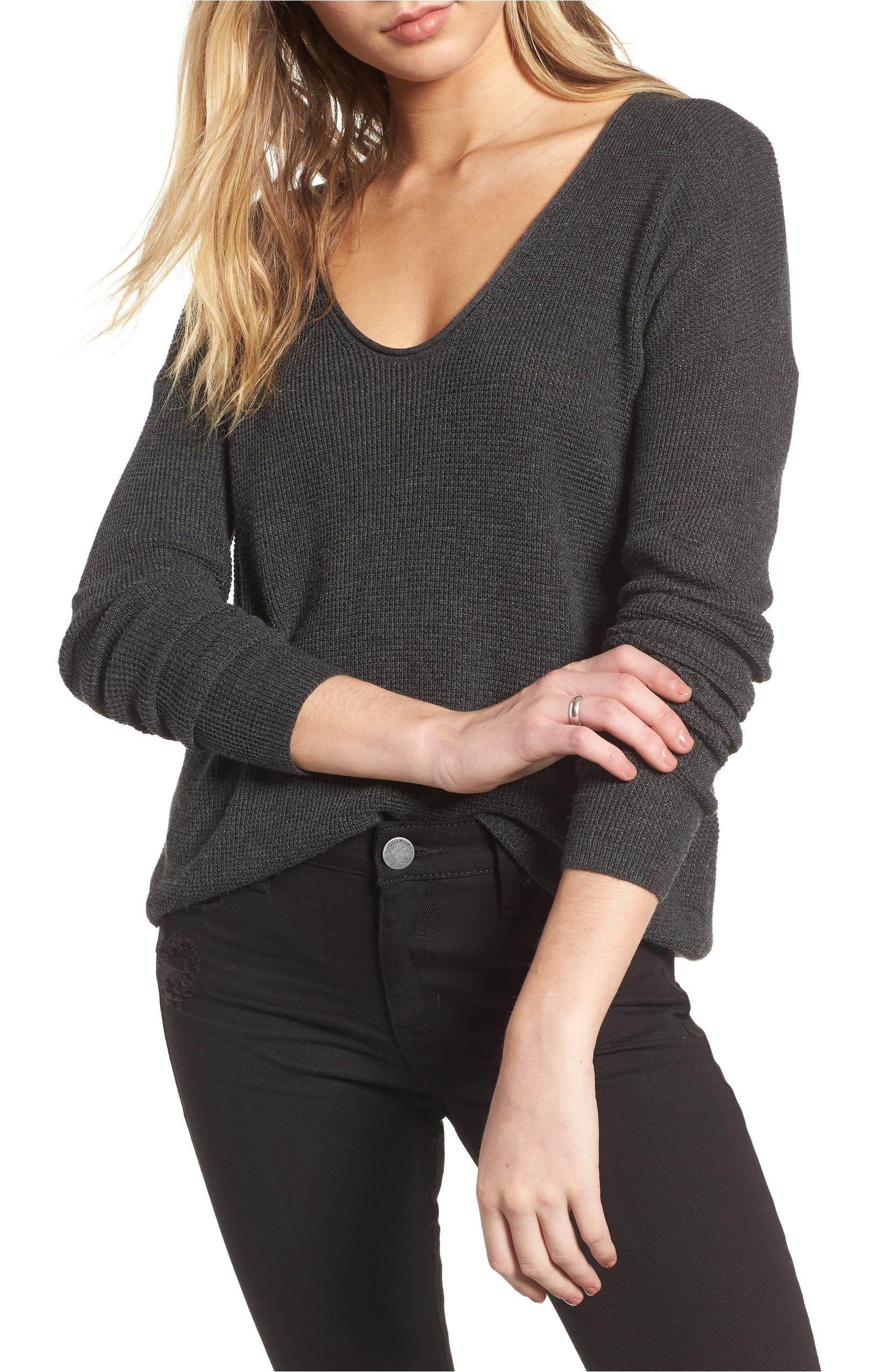 Textured Stitch V-Neck Pullover,                         Main,                         color, Grey Dark Charcoal Heather