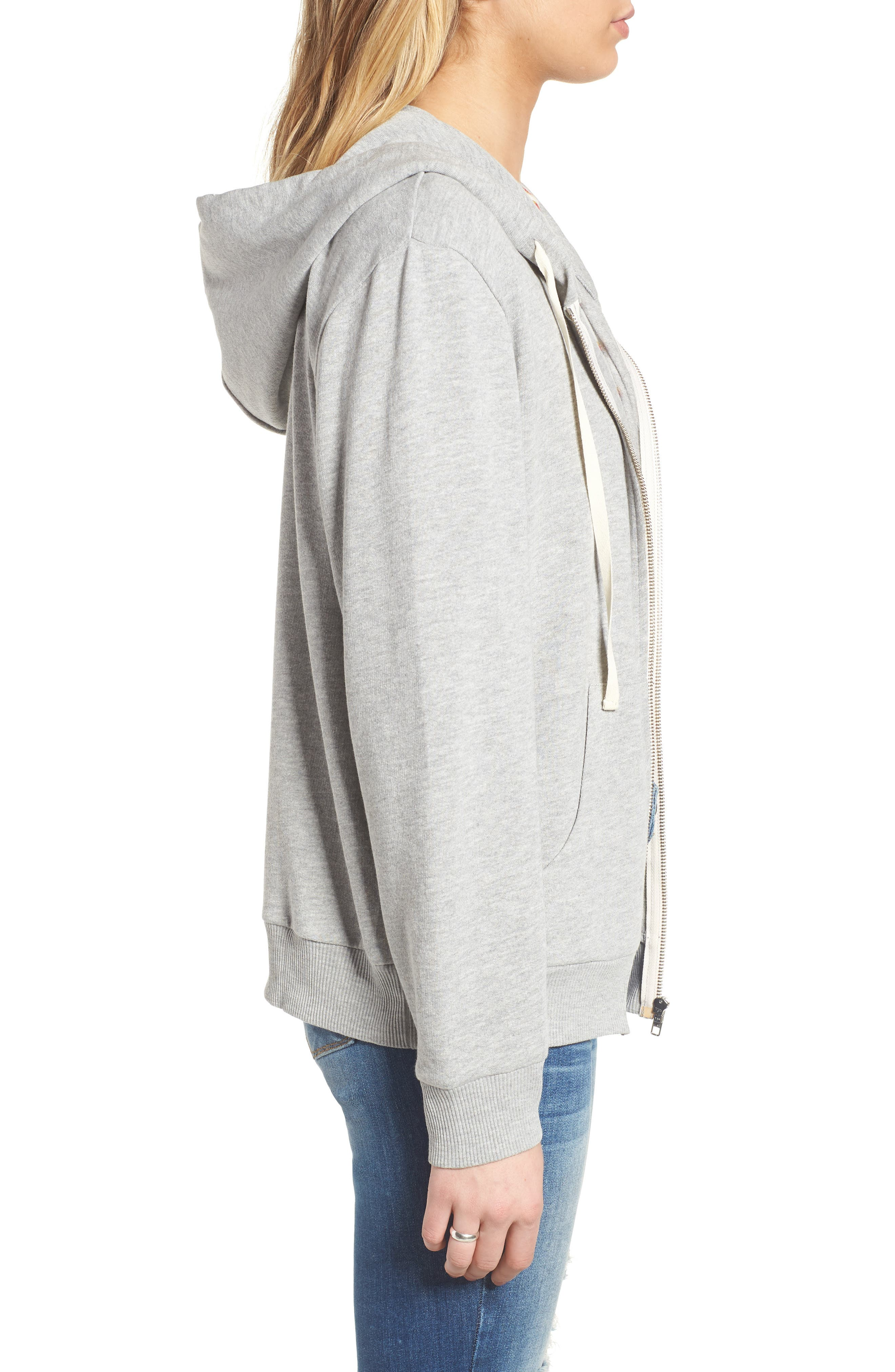 Zip Front Hoodie,                             Alternate thumbnail 3, color,                             Grey Medium Heather