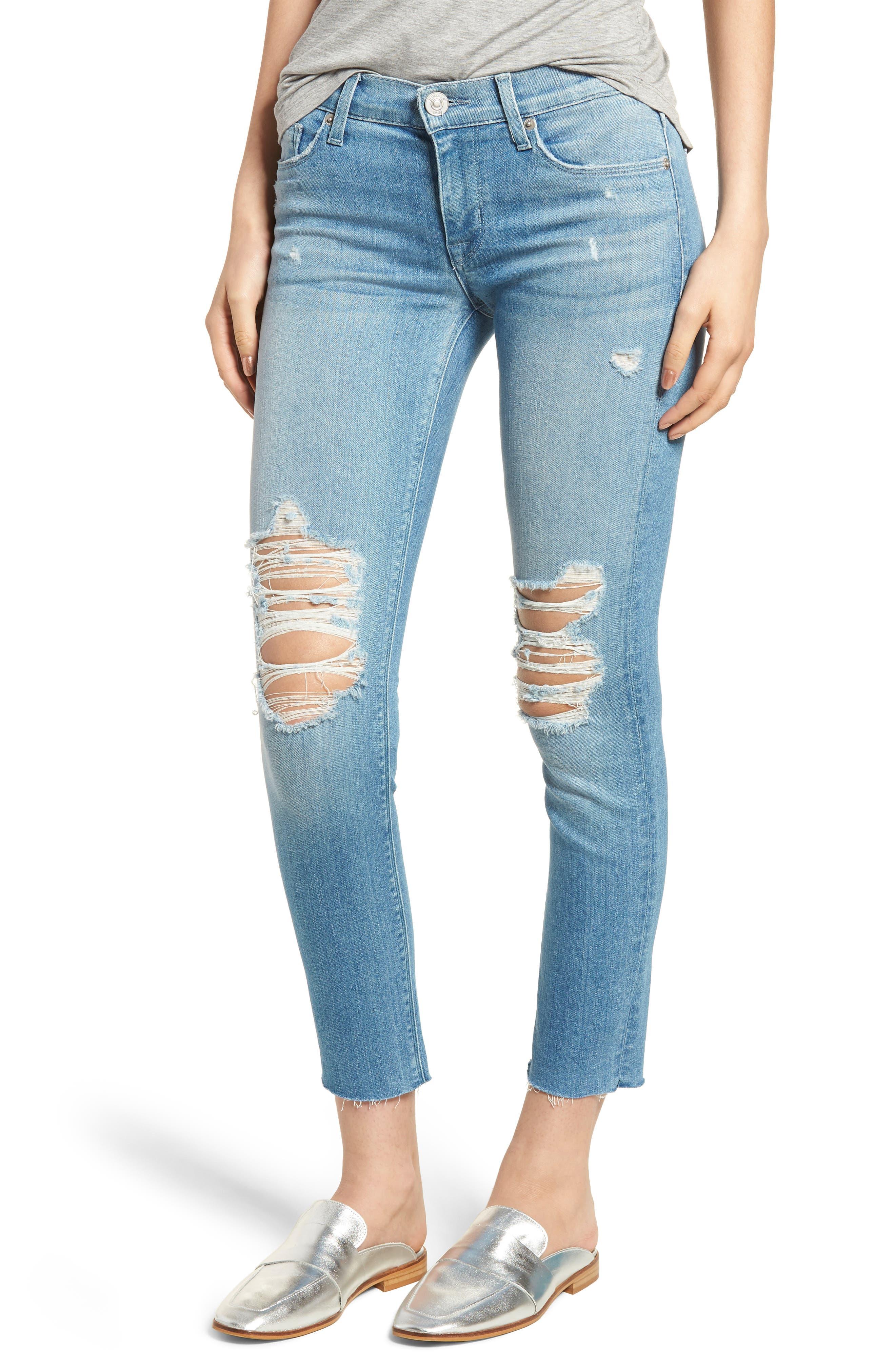 Hudson Jeans Tally Crop Skinny Jeans (Sugarcoat)