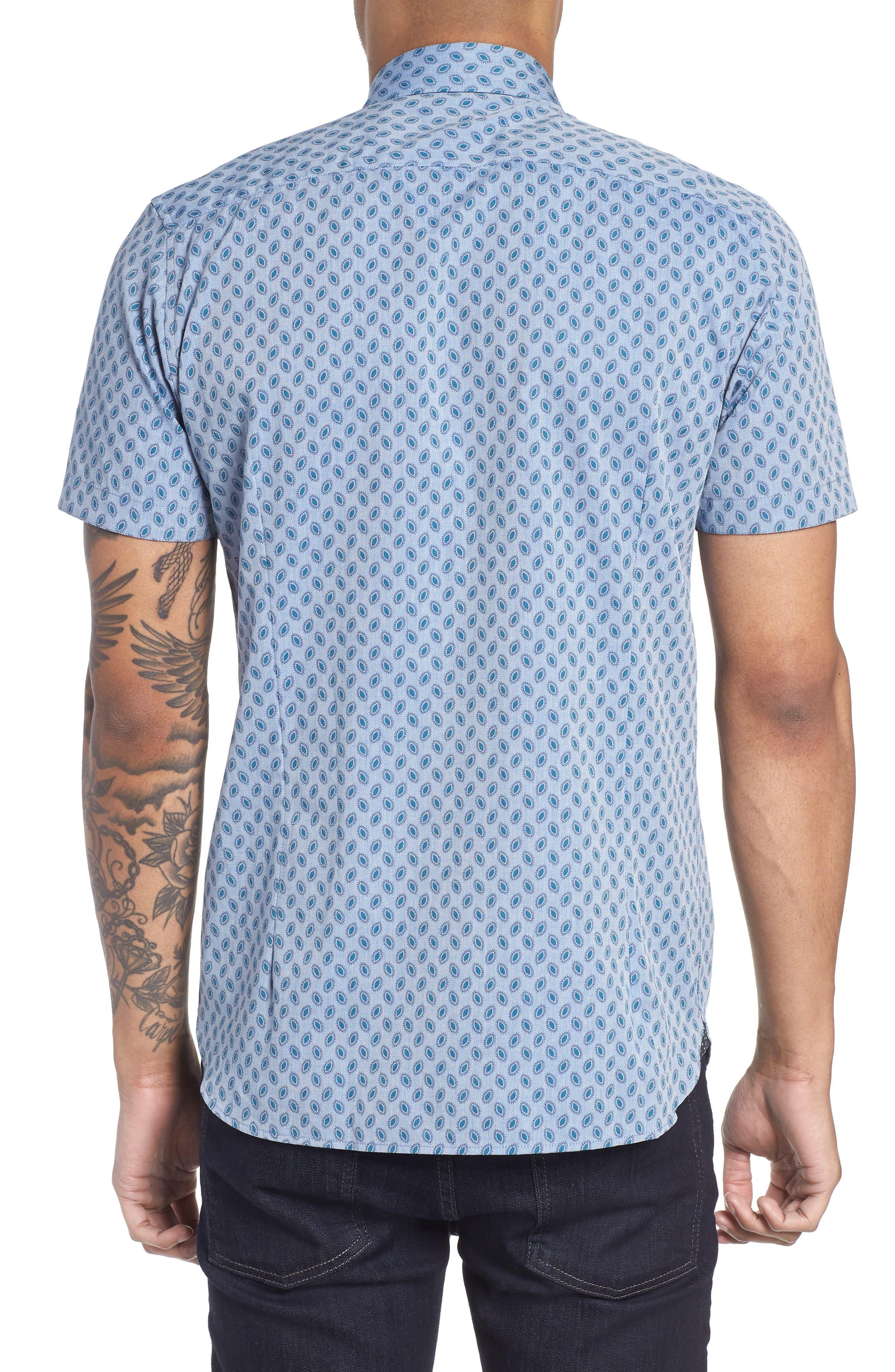 Newfott Extra Slim Fit Short Sleeve Sport Shirt,                             Alternate thumbnail 3, color,                             Blue