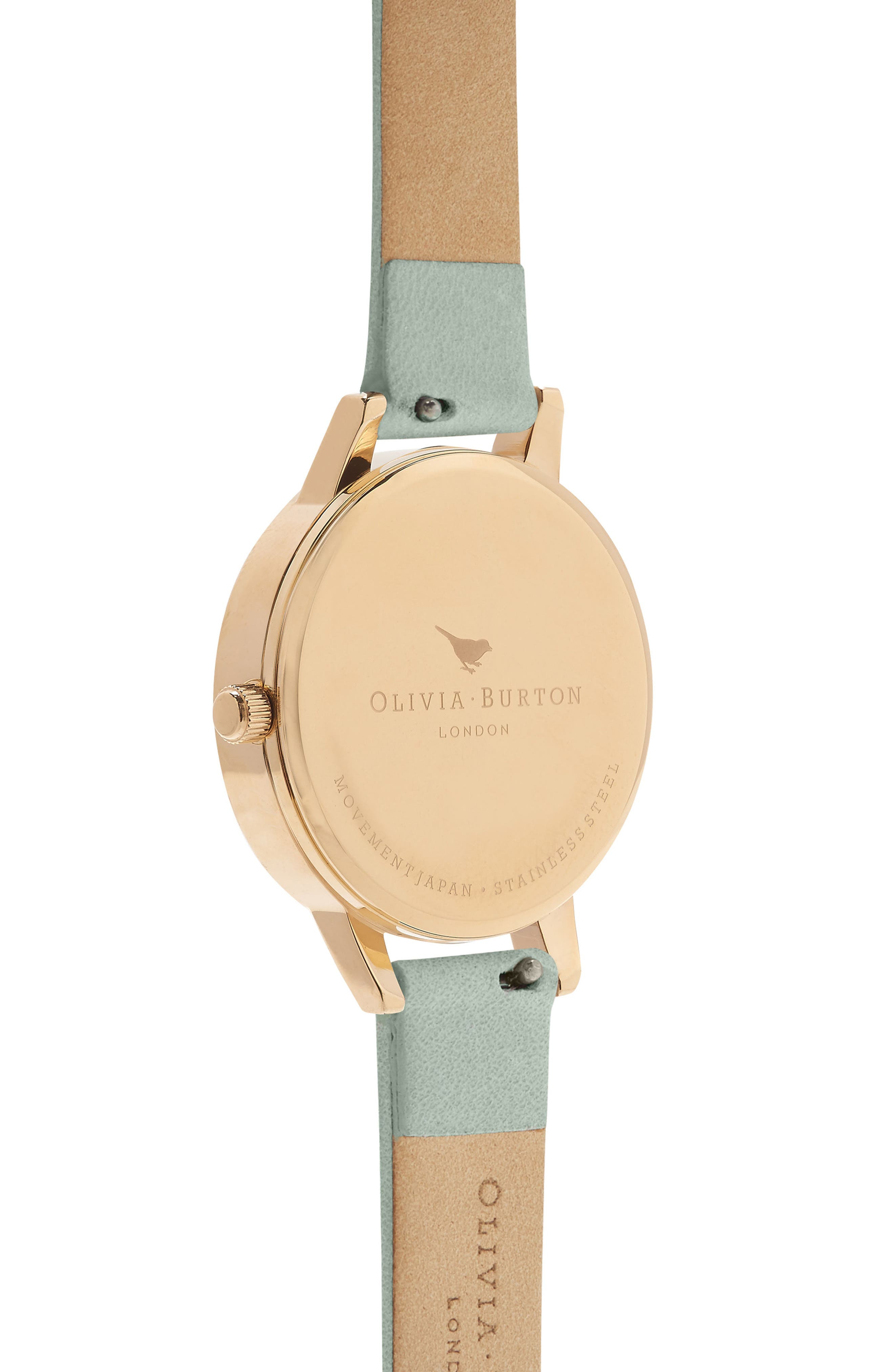 Signature Floral Leather Strap Watch, 30mm,                             Alternate thumbnail 2, color,                             Sage/ Floral/ Gold