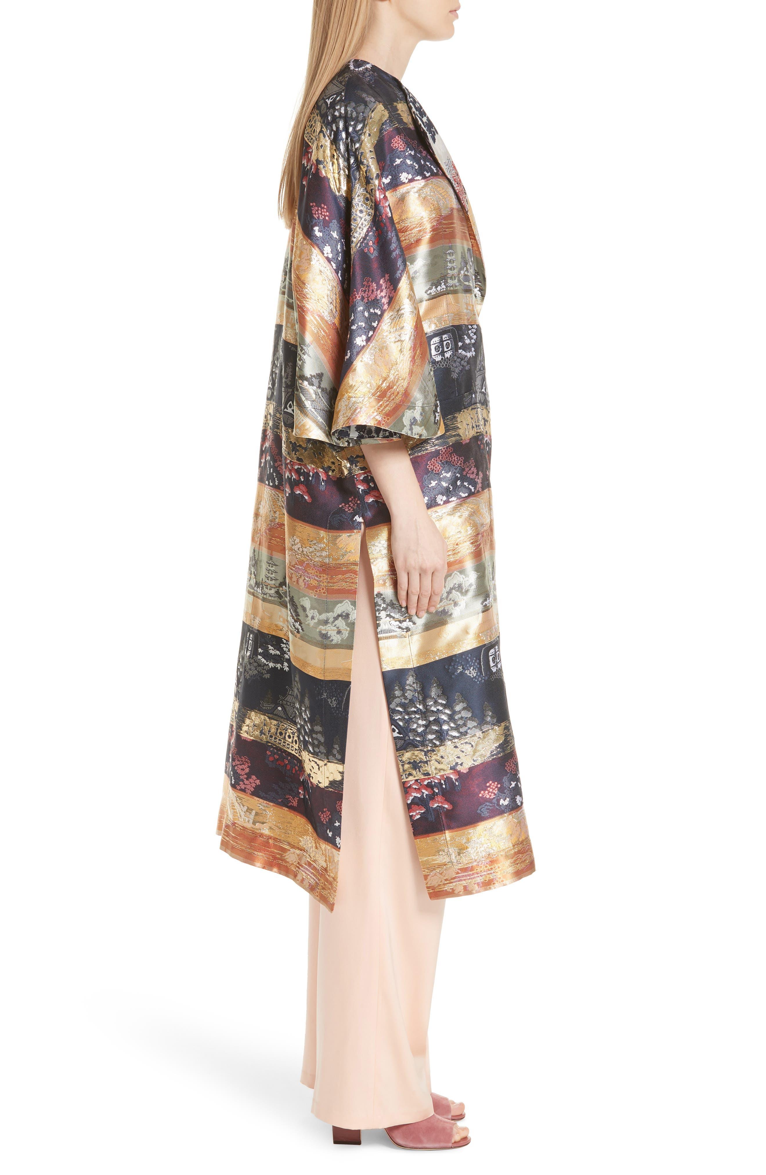 Reversible Silk Lamé Jacquard Coat,                             Alternate thumbnail 4, color,                             Navy/ Ivory
