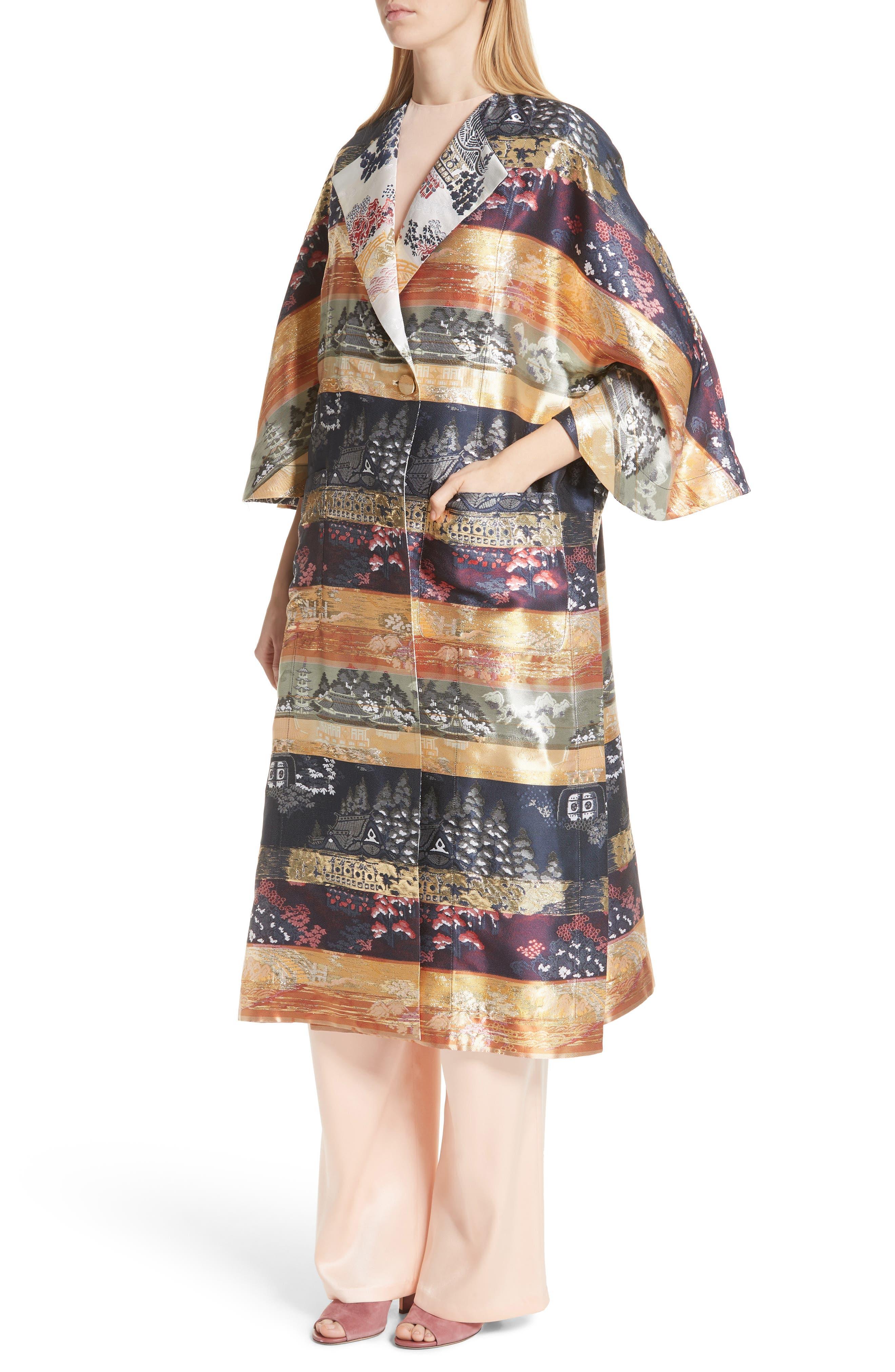 Reversible Silk Lamé Jacquard Coat,                             Alternate thumbnail 6, color,                             Navy/ Ivory