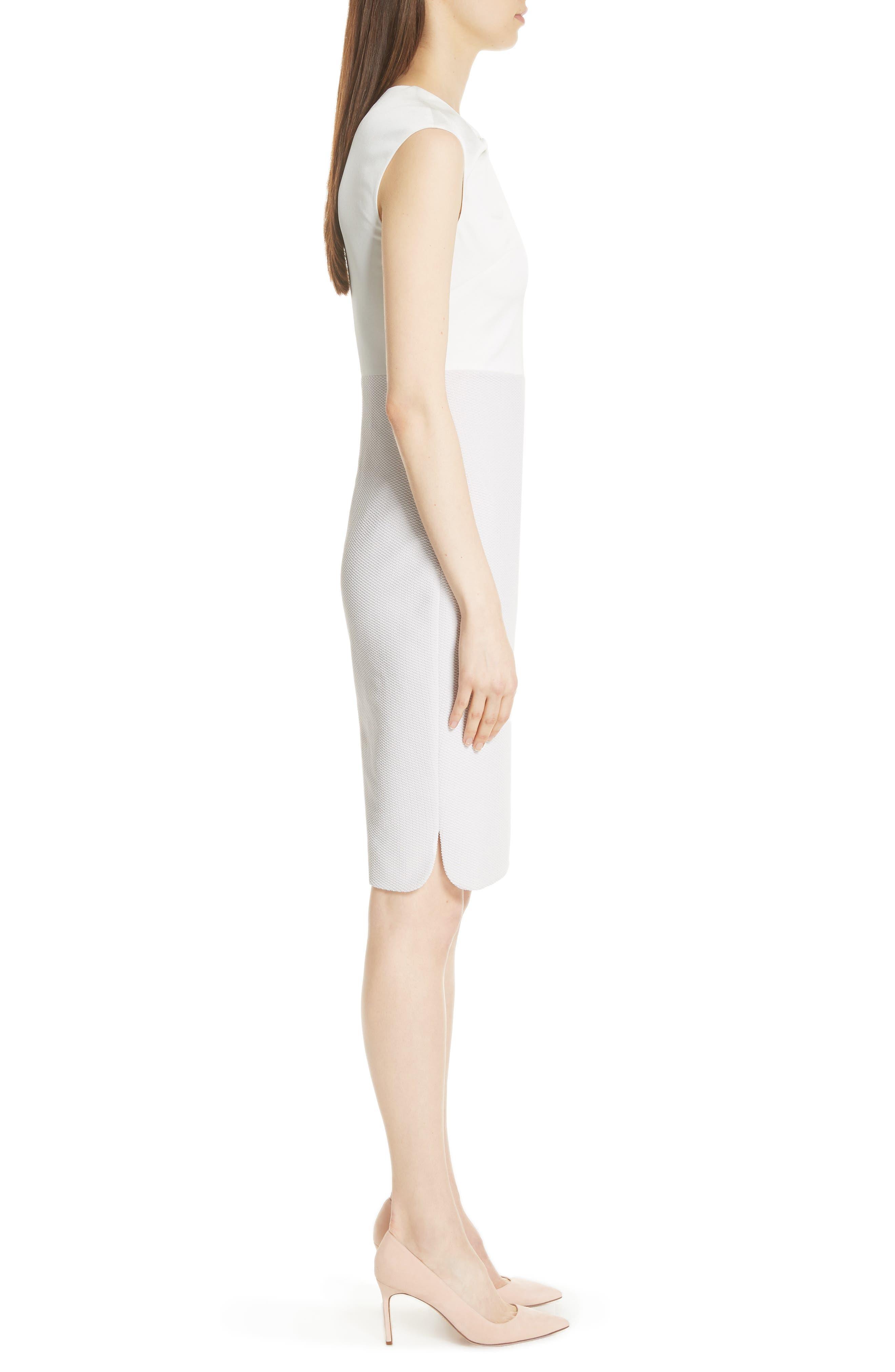 Mock Two-Piece Pencil Dress,                             Alternate thumbnail 3, color,                             Grey