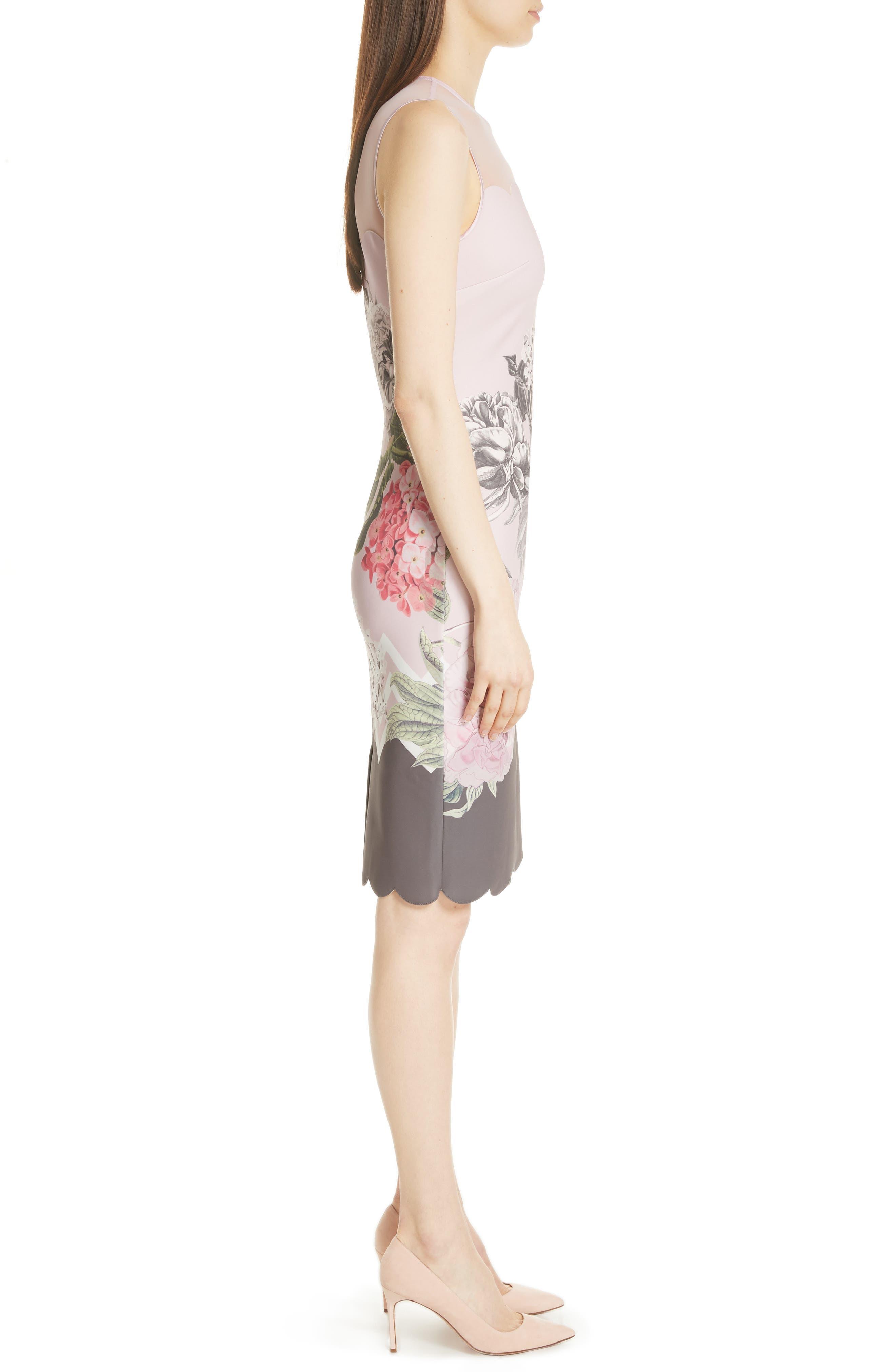 Palace Gardens Body-Con Dress,                             Alternate thumbnail 3, color,                             Dusky Pink