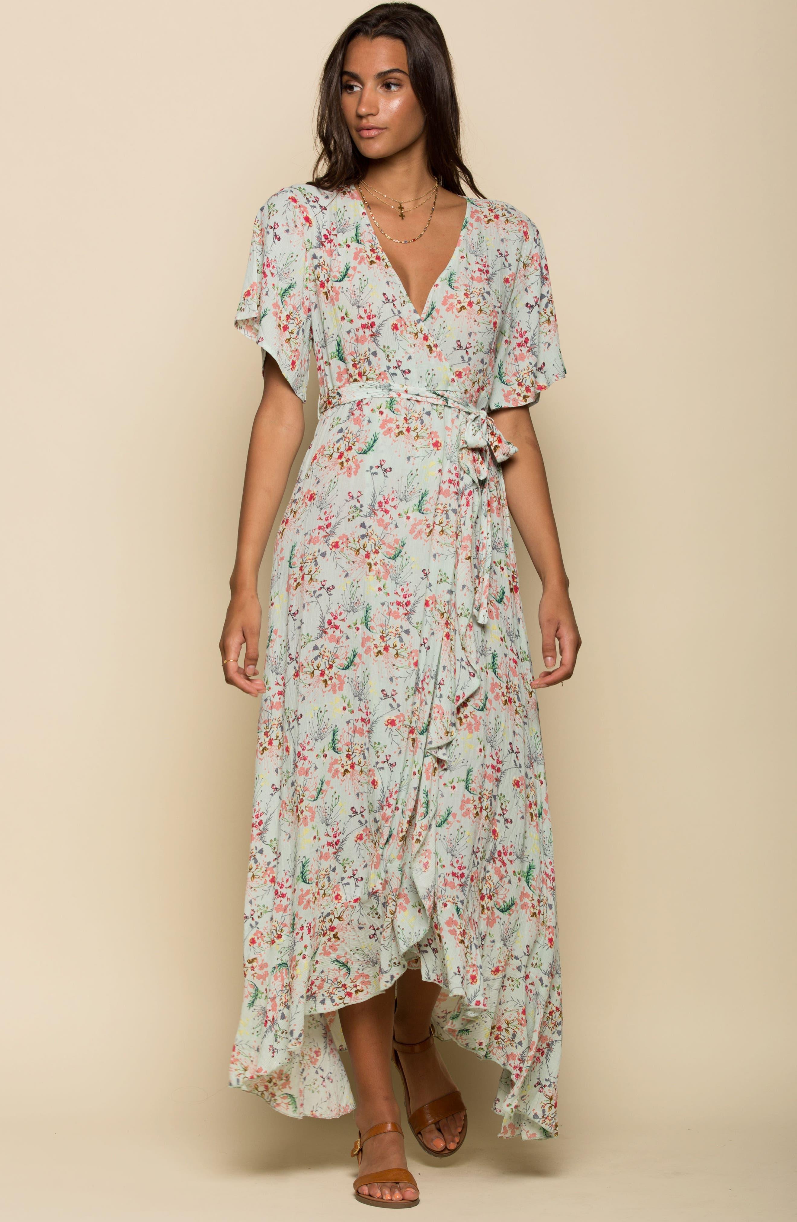 Secret Escape Floral Faux Wrap Maxi Dress,                             Alternate thumbnail 2, color,                             Sage