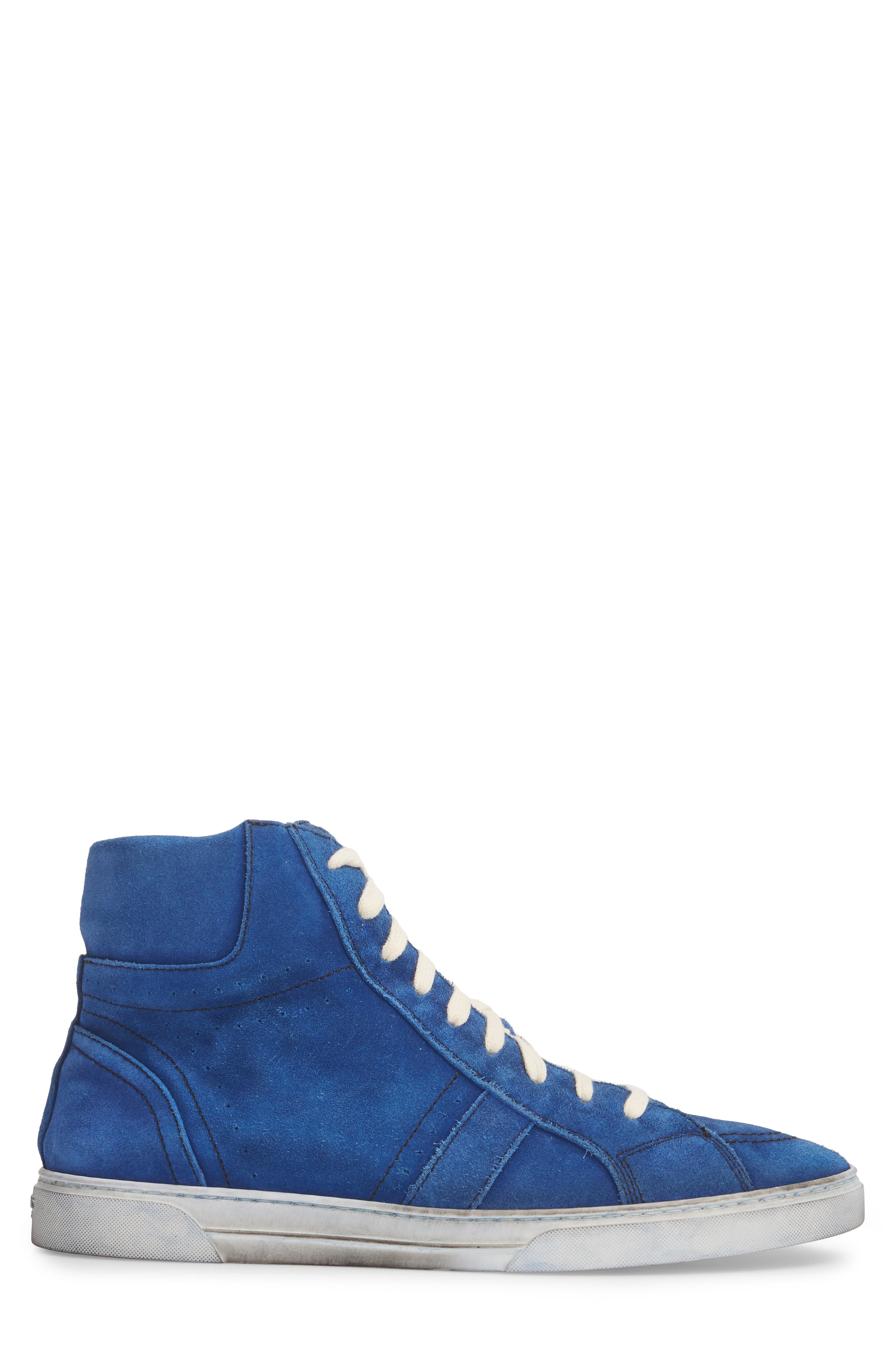High Top Sneaker,                             Alternate thumbnail 3, color,                             Blue Suede