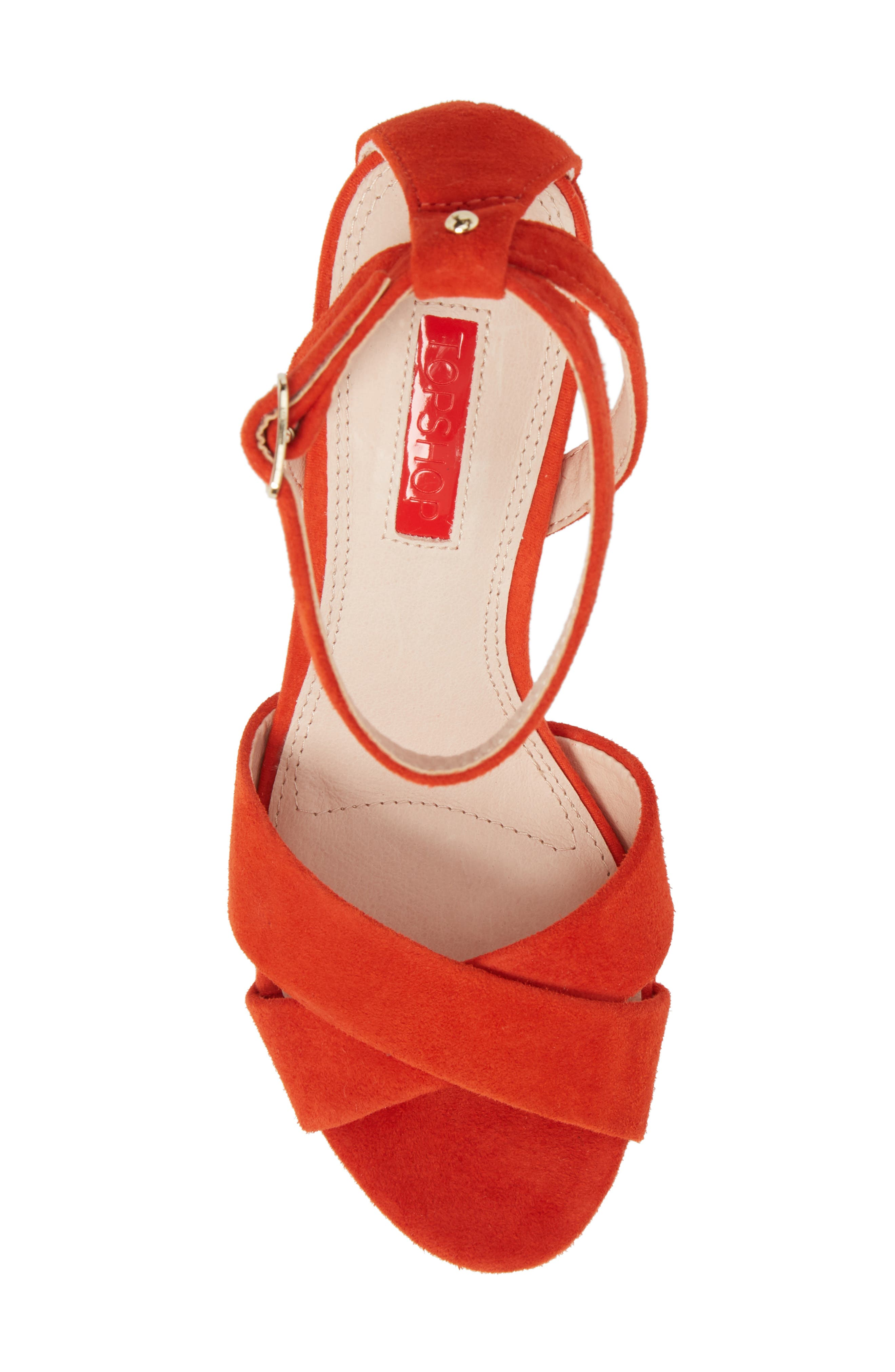 Leah Cross Strap Platform Sandal,                             Alternate thumbnail 5, color,                             Orange