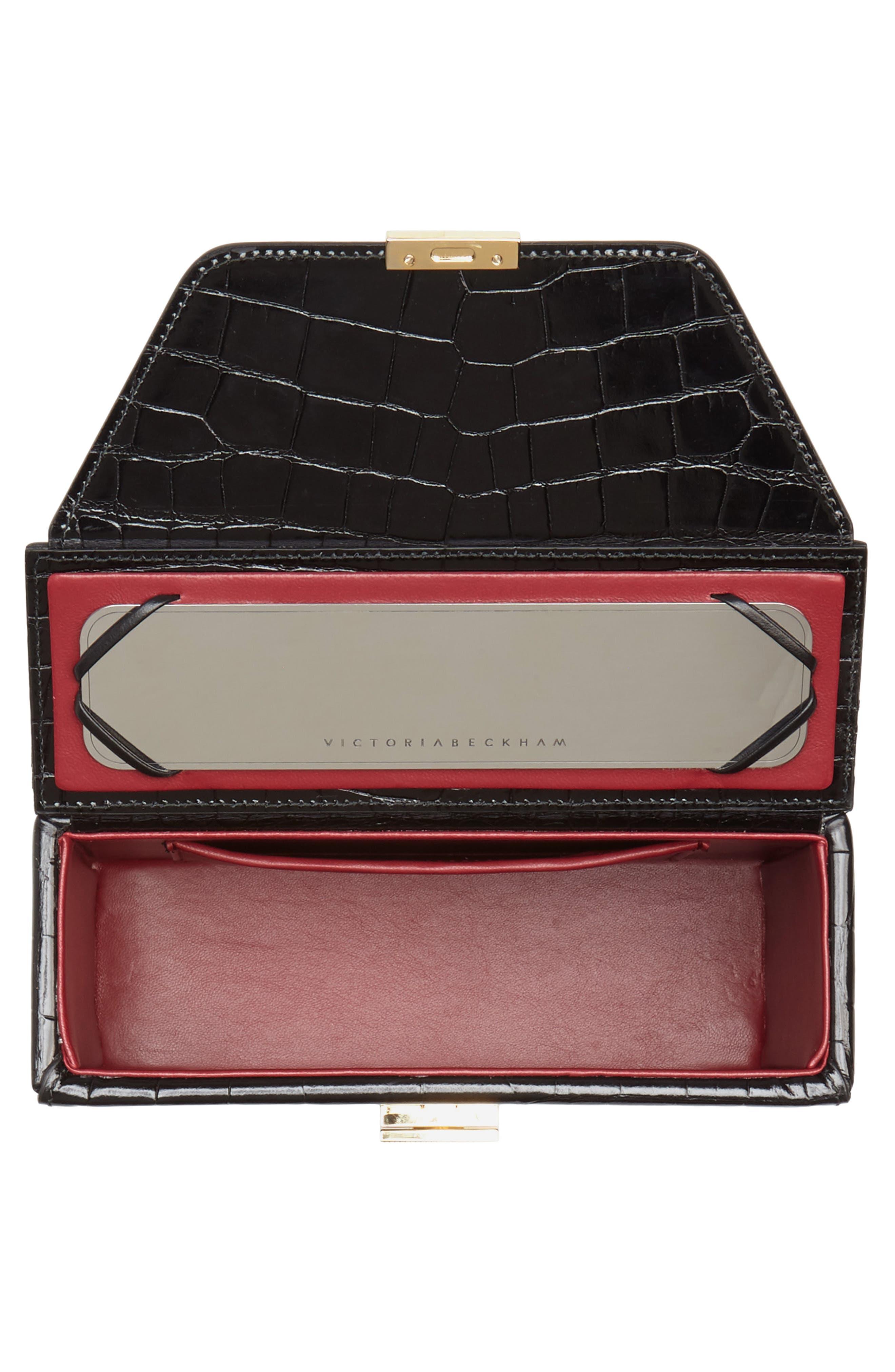 Mini Vanity Top Handle Box Bag,                             Alternate thumbnail 4, color,                             Black