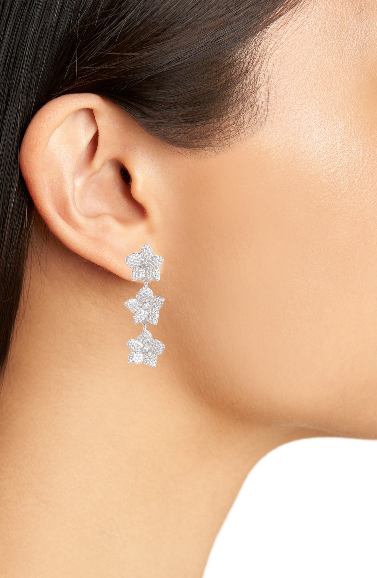 blooming pavé linear earrings,                             Alternate thumbnail 2, color,                             Clear/ Silver