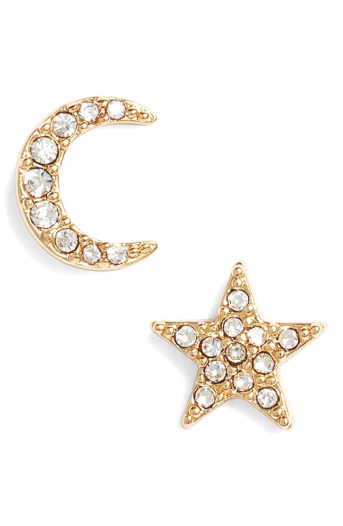 celestial stud earrings,                         Main,                         color, Clear/ Gold