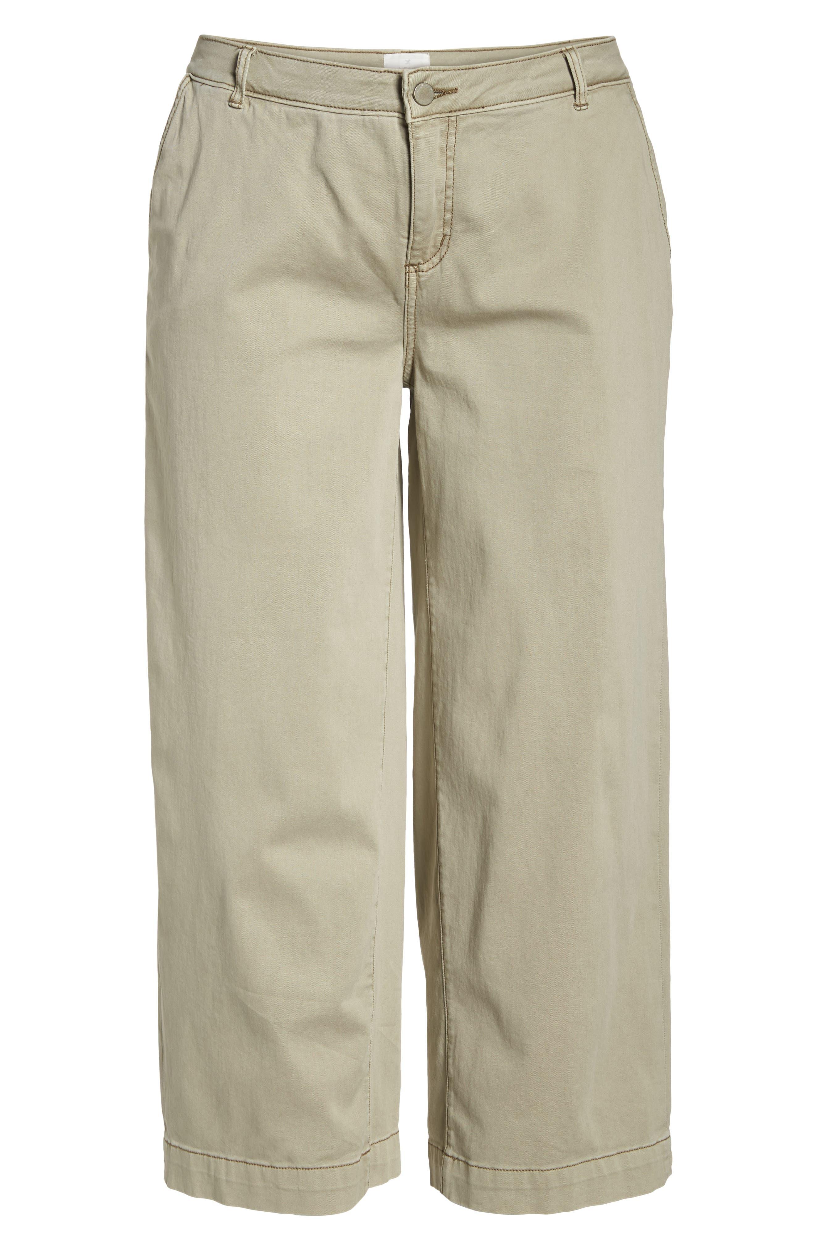 Wide Leg Stretch Cotton Twill Crop Pants,                             Alternate thumbnail 7, color,                             Tan Cobblestone