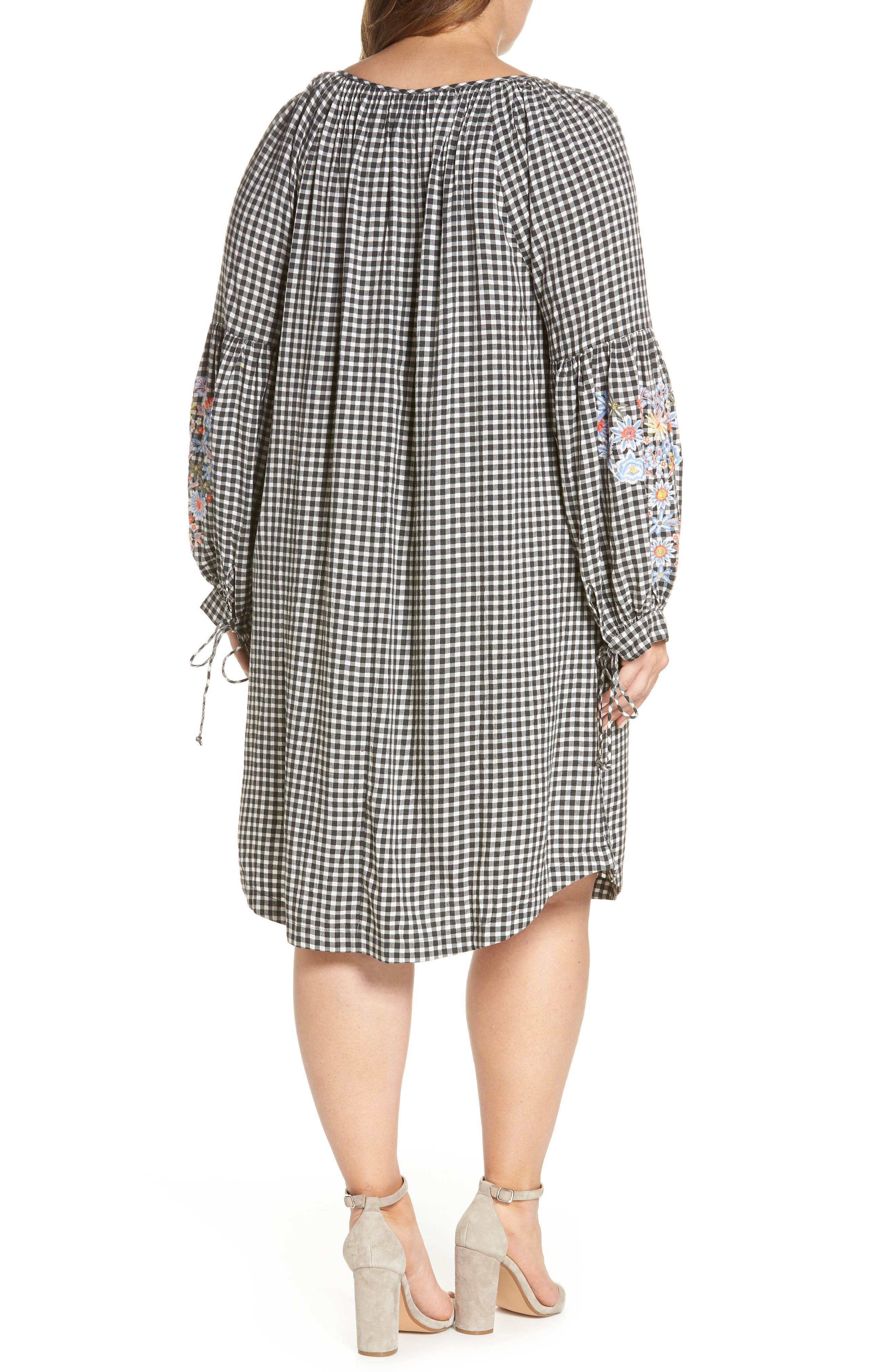 Embroidered Puff Sleeve Gingham Shift Dress,                             Alternate thumbnail 3, color,                             Black-White Gingham