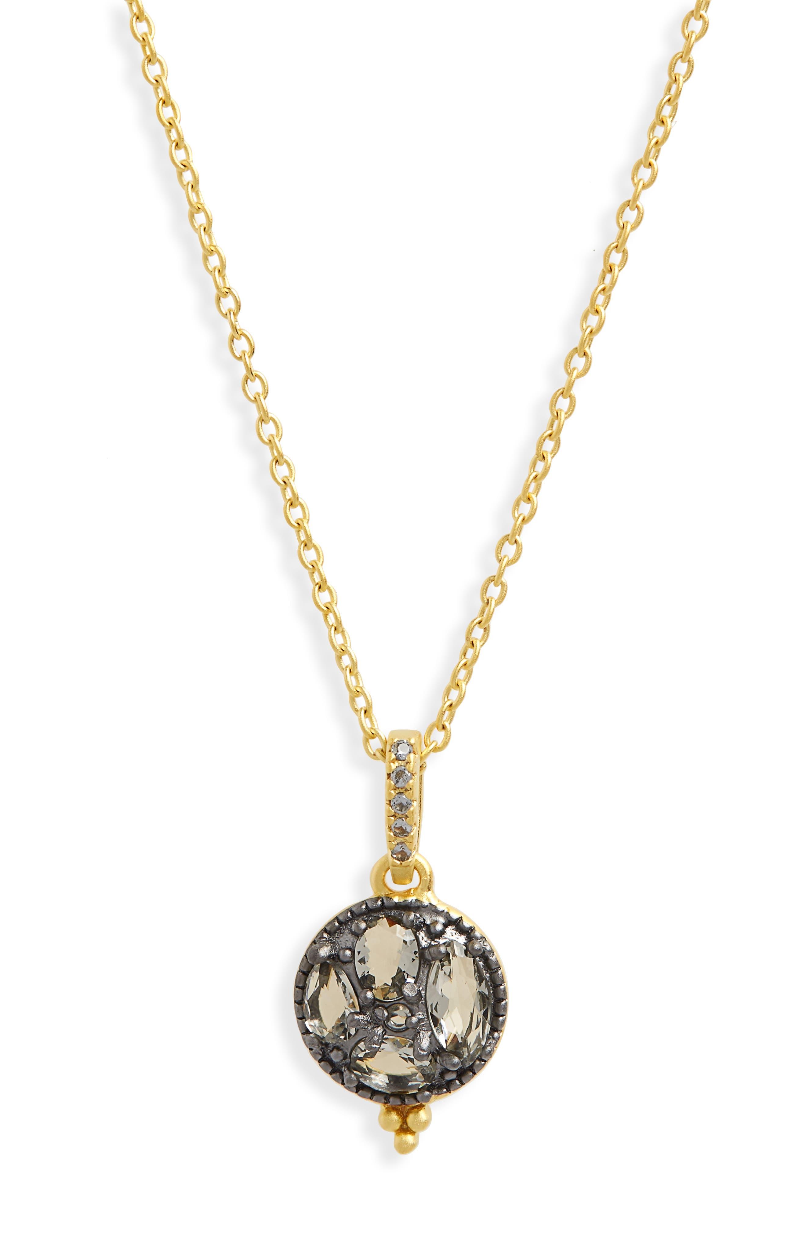 Rose Dor Small Pendant Necklace,                         Main,                         color, Black Rhodium/ Gold