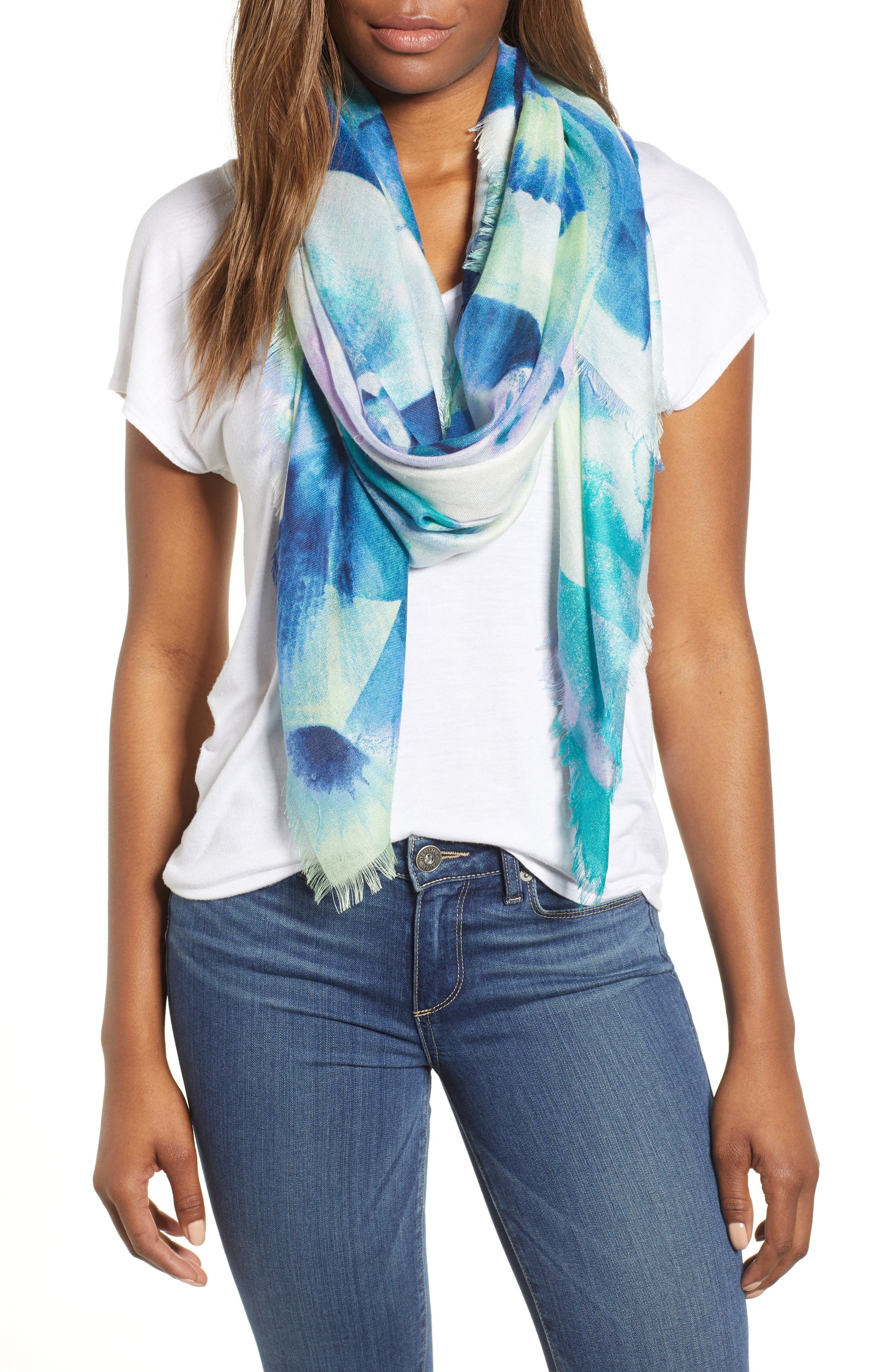 Eyelash Trim Print Cashmere & Silk Wrap,                         Main,                         color, Blue Fanning Dots