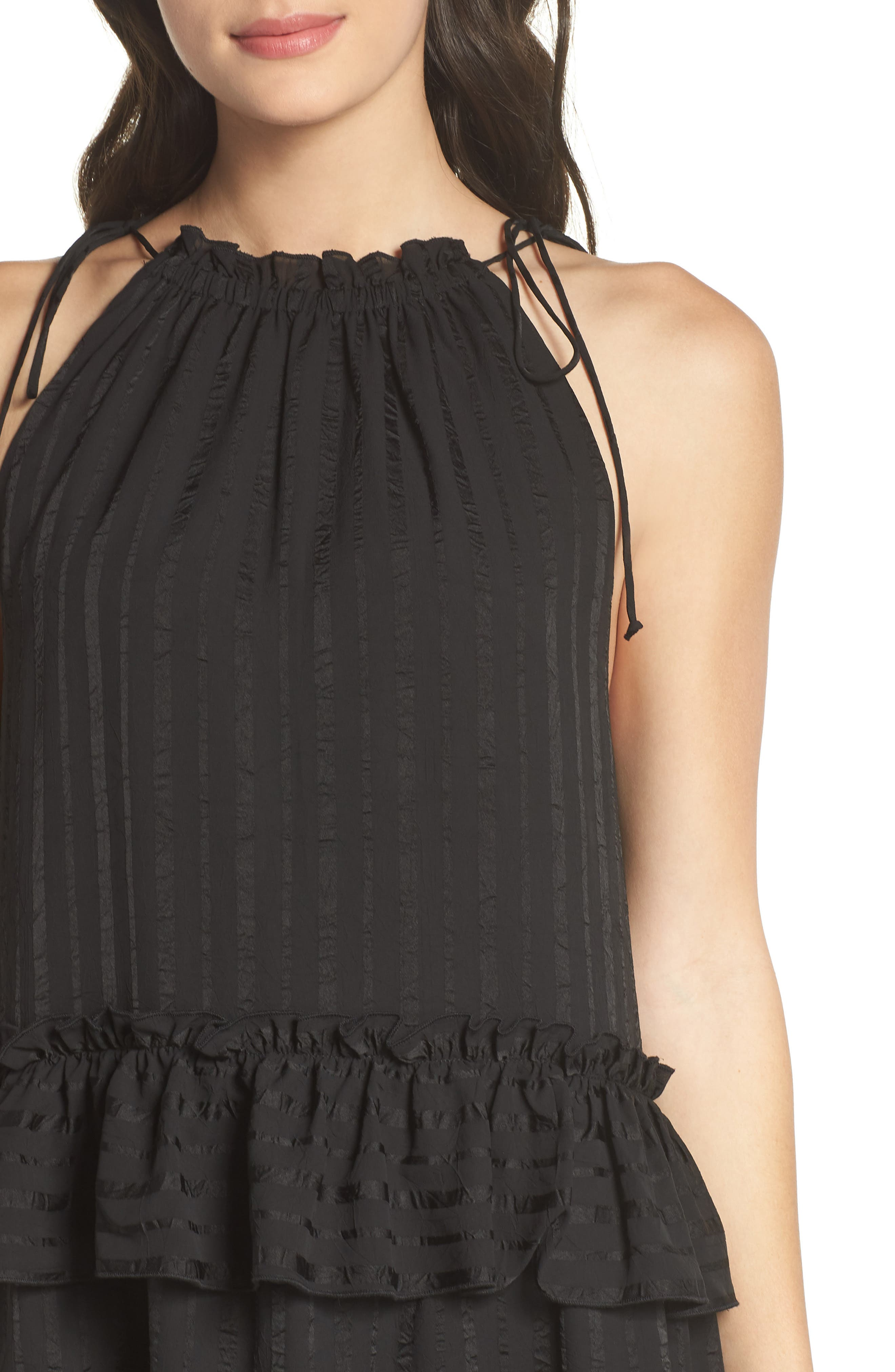 Lila Stripe Chiffon Halter Dress,                             Alternate thumbnail 4, color,                             Black