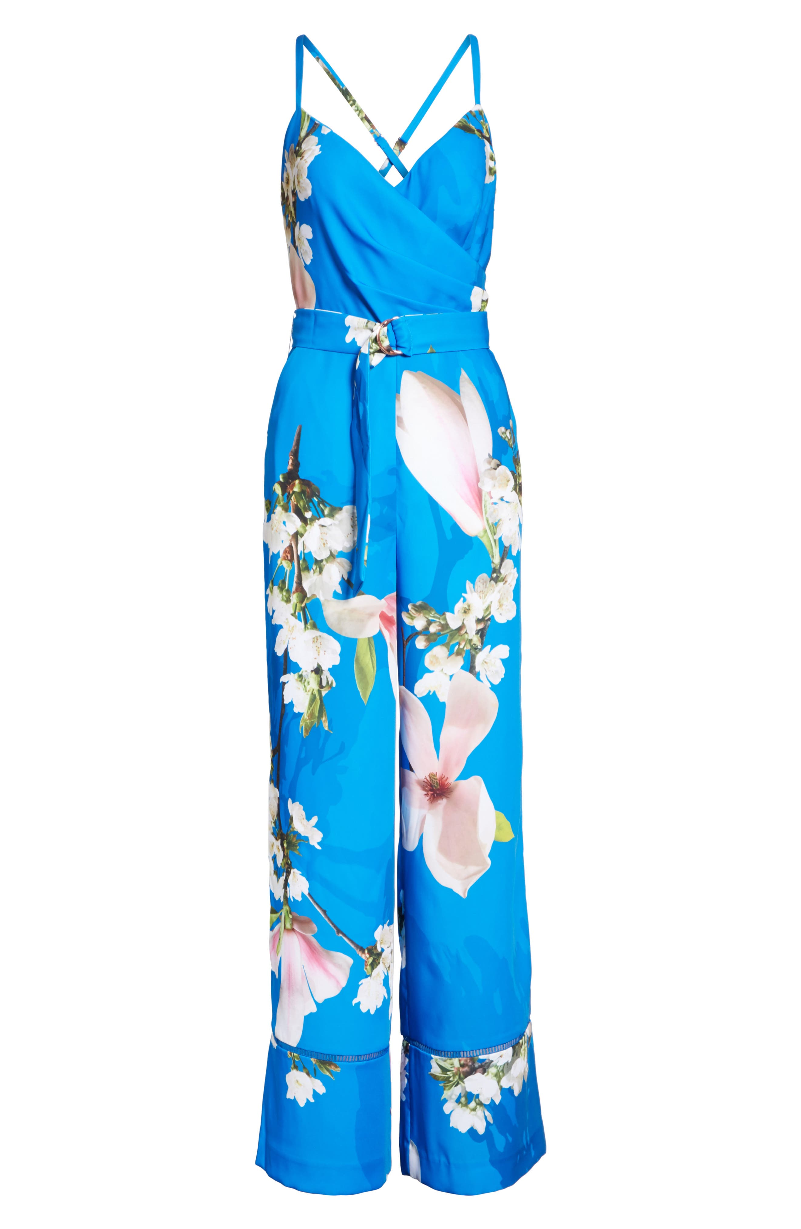Harmony Wrap Front Floral Jumpsuit,                             Alternate thumbnail 6, color,                             Bright Blue
