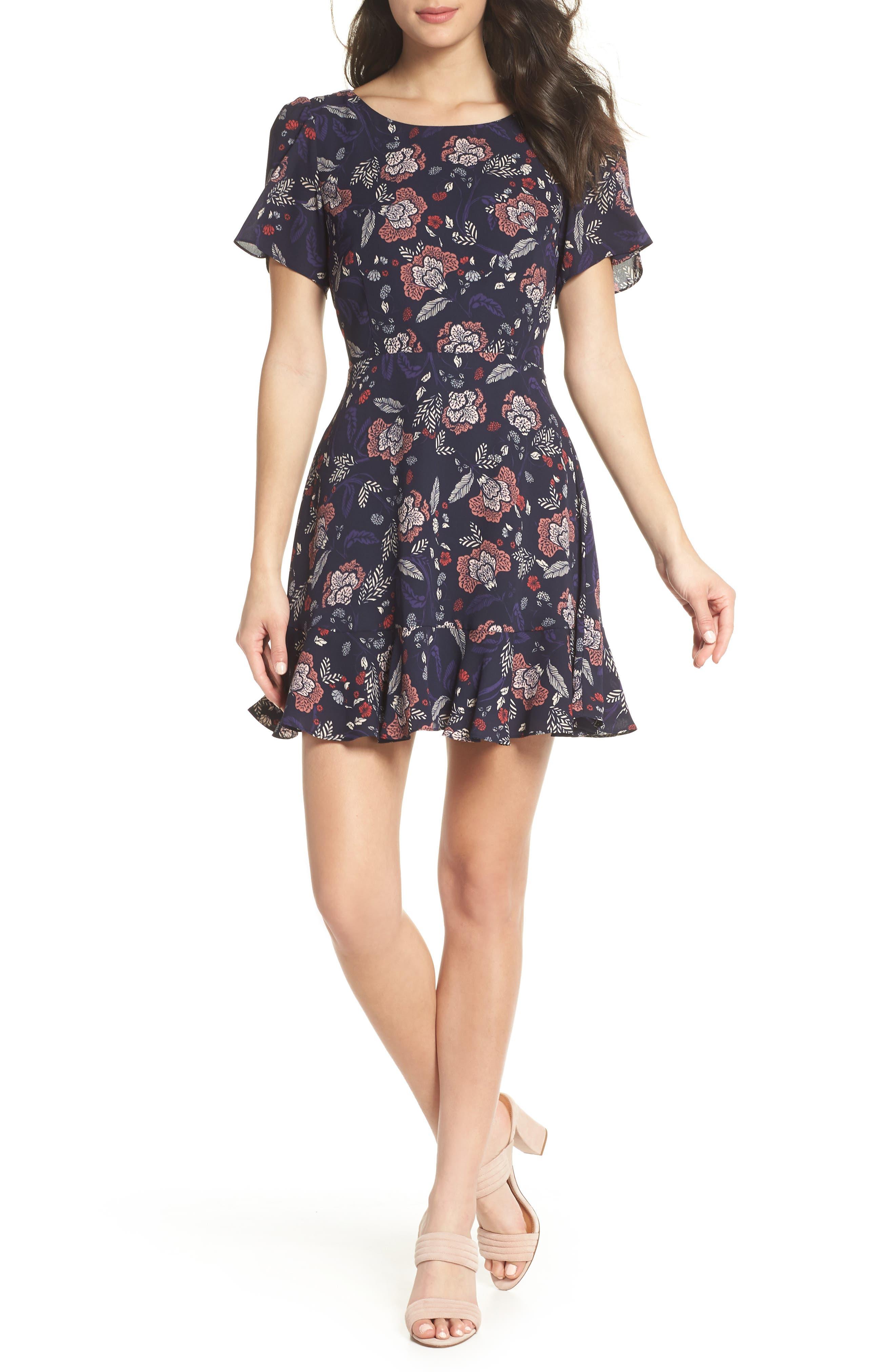 Cassidy Floral Minidress,                             Main thumbnail 1, color,                             Navy