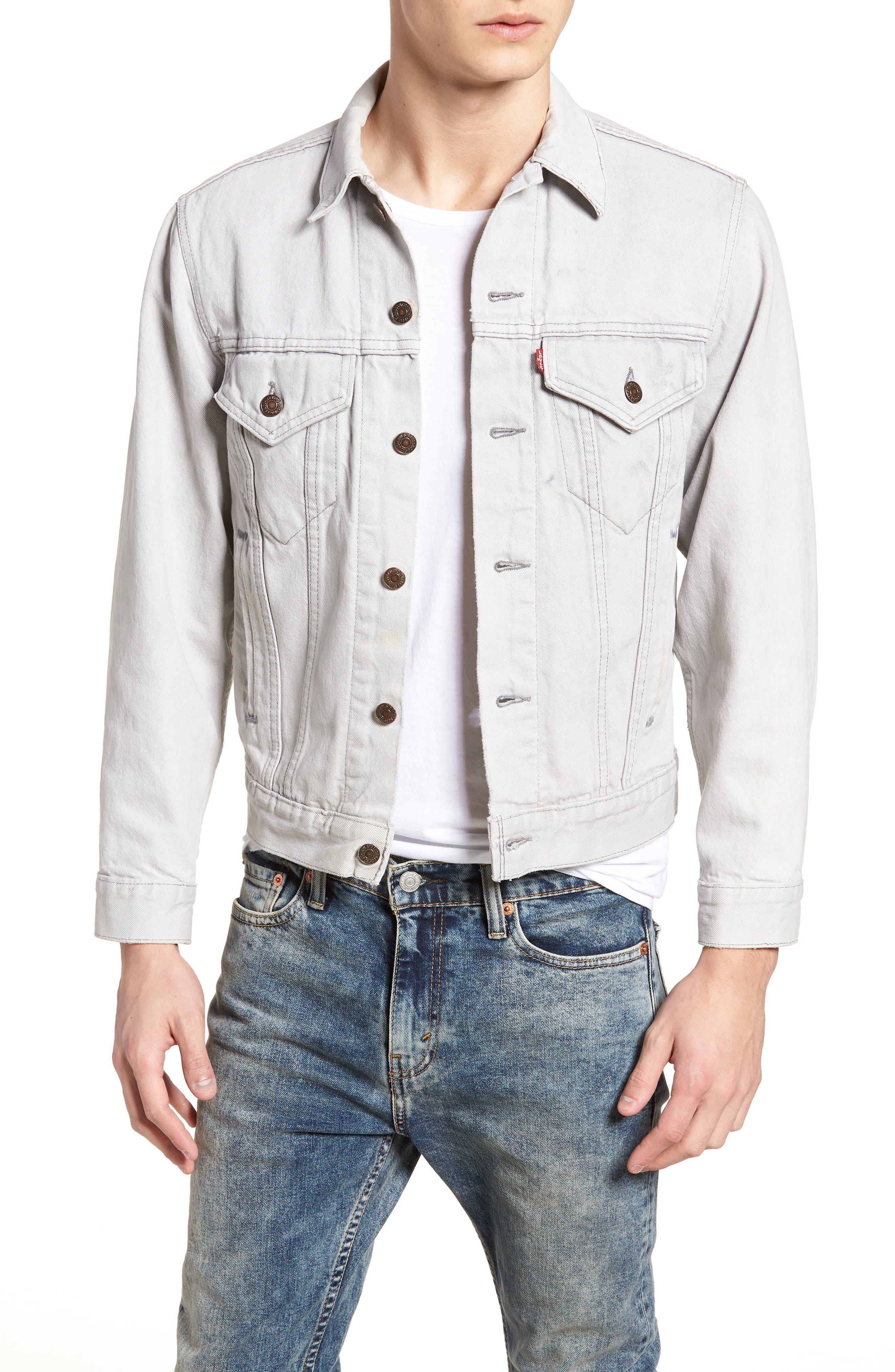 Authorized Vintage Denim Trucker Jacket,                         Main,                         color, Av Black
