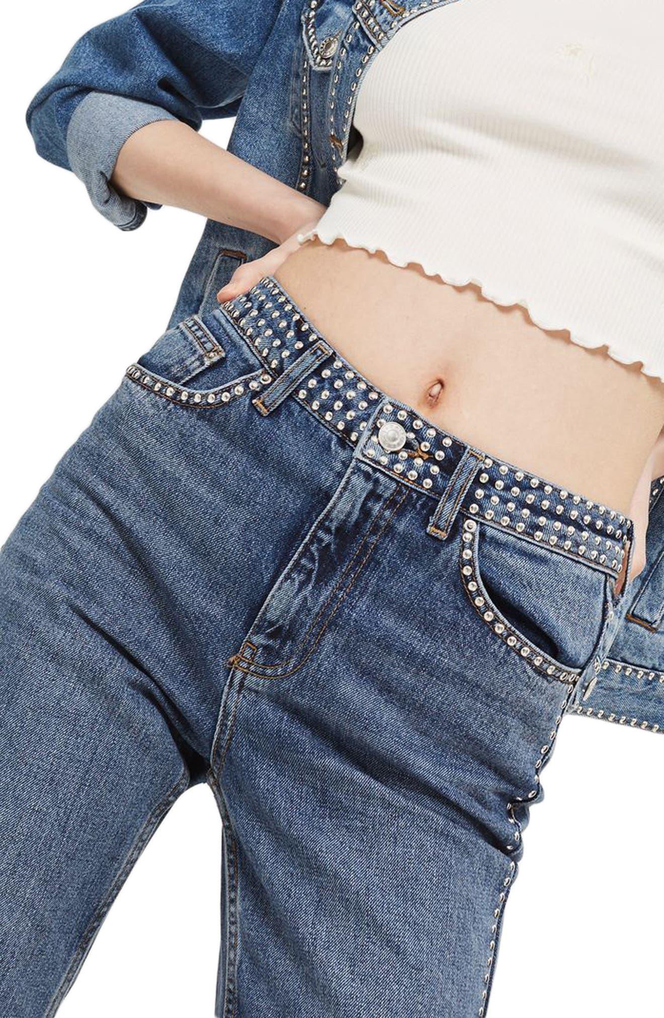 Topshop Mid Denim Studded Mom Jeans