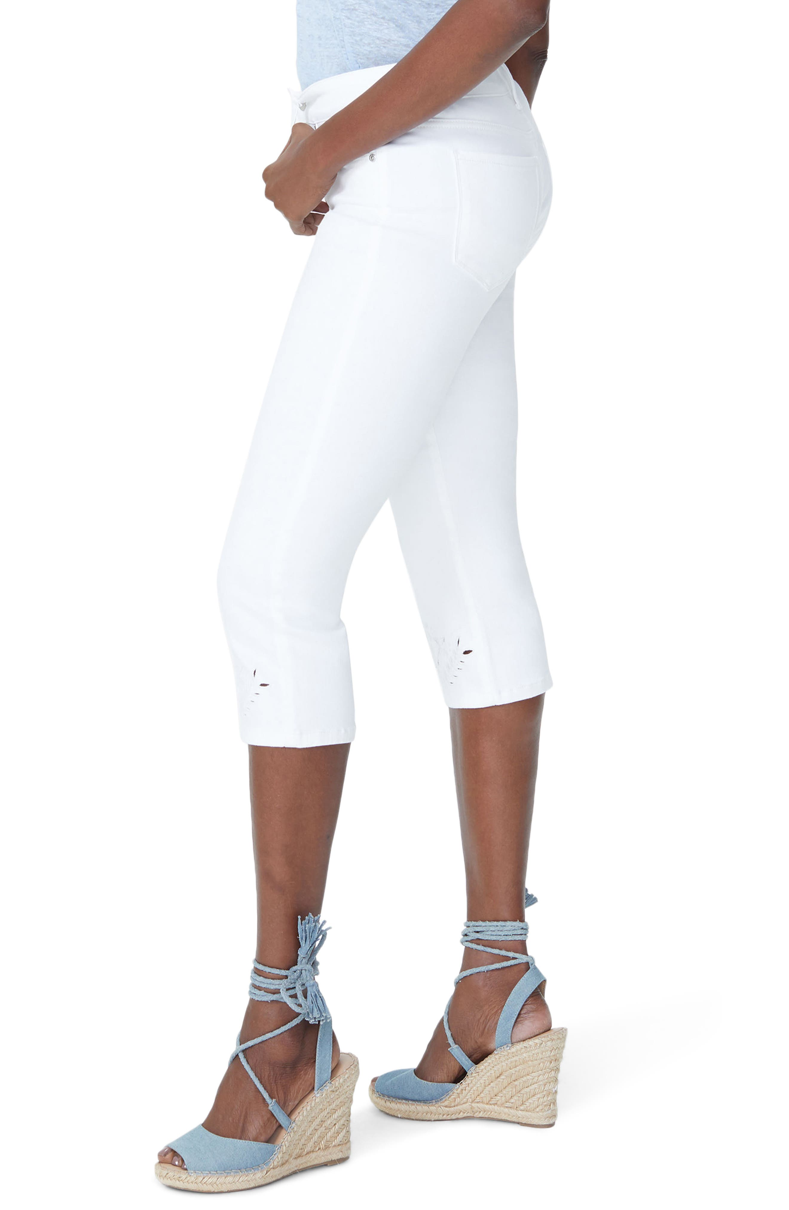 Marilyn Eyelet Hem Stretch Crop Jeans,                             Alternate thumbnail 4, color,                             Optic White