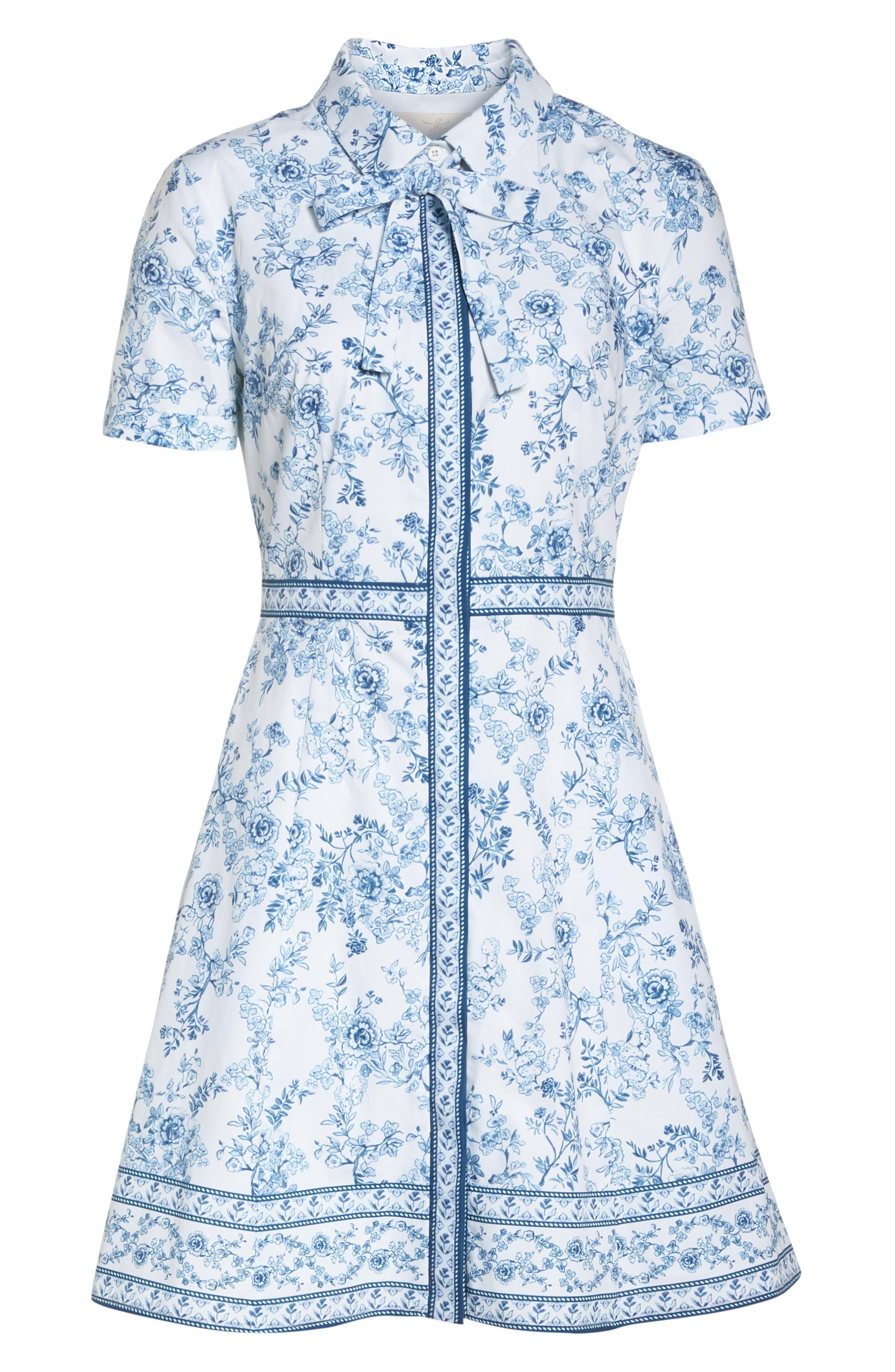 Darla Cotton Toile Shirtdress,                             Alternate thumbnail 8, color,                             Cloud/ Cornflower