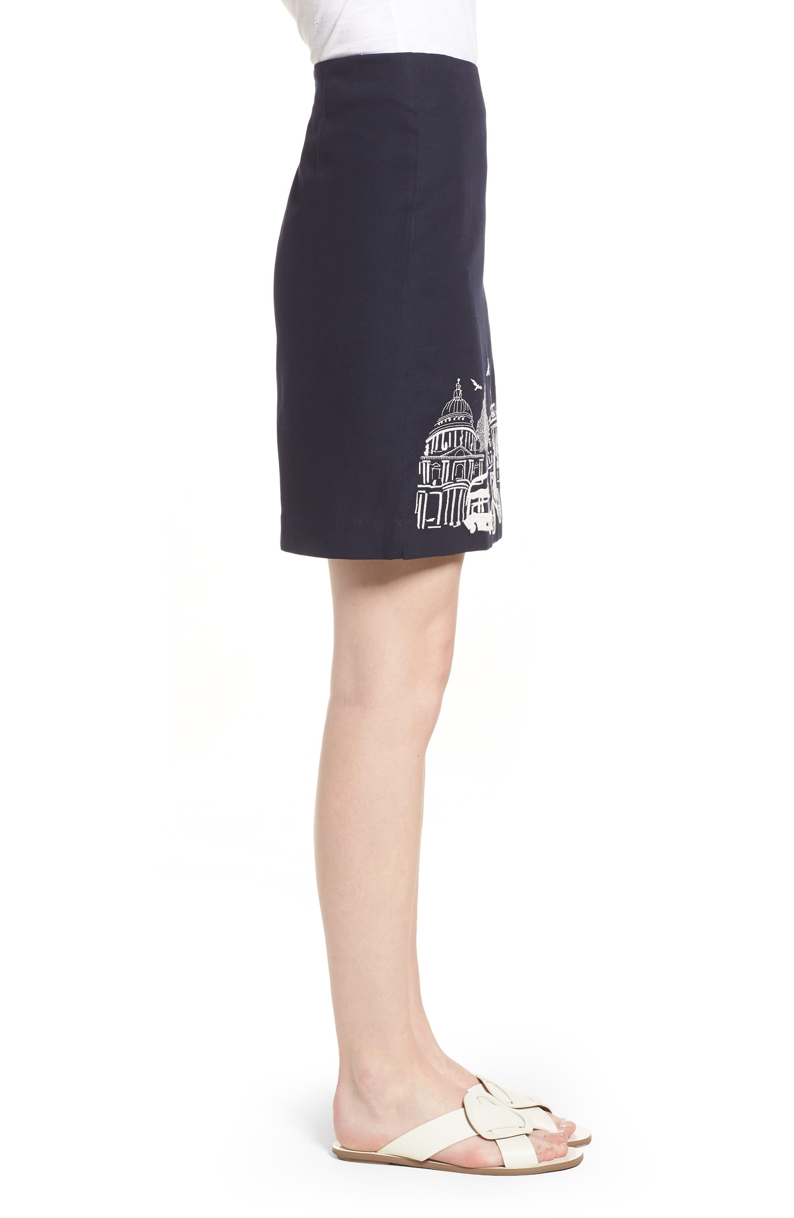Tilda Embroidered Cotton Skirt,                             Alternate thumbnail 3, color,                             Navy