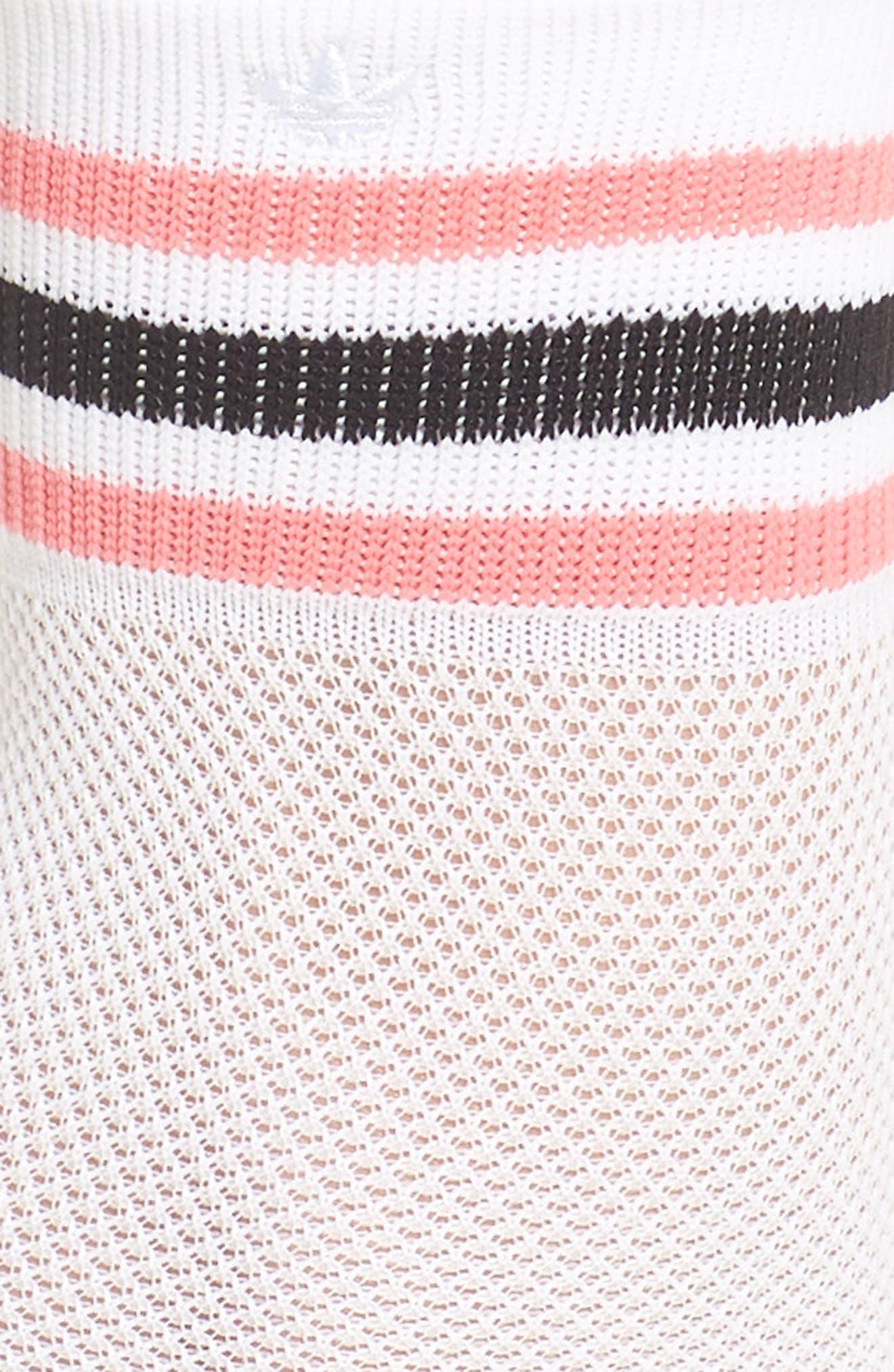 Stripe Mesh Ankle Socks,                             Alternate thumbnail 2, color,                             White/ Chalk Pink/ Black