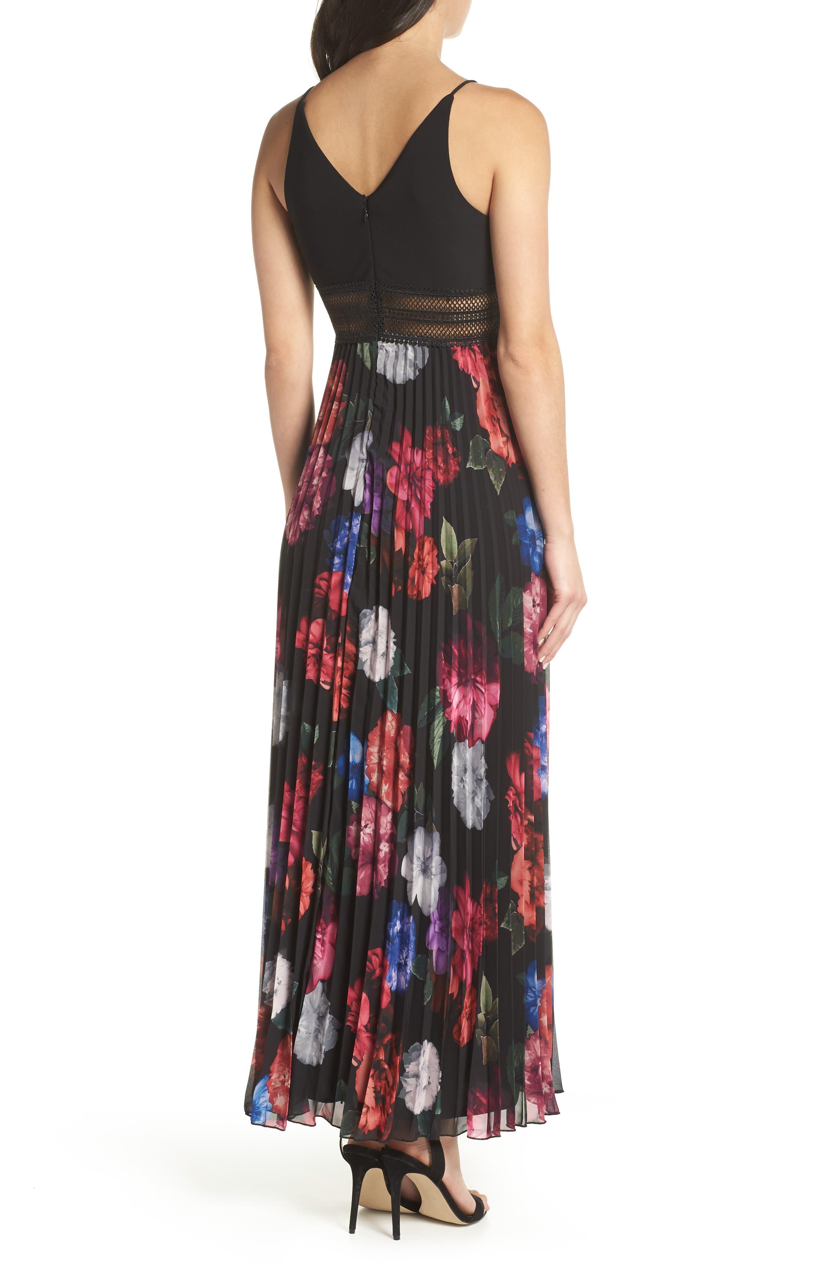 Floral Pleated Gown,                             Alternate thumbnail 2, color,                             Black/ Purple