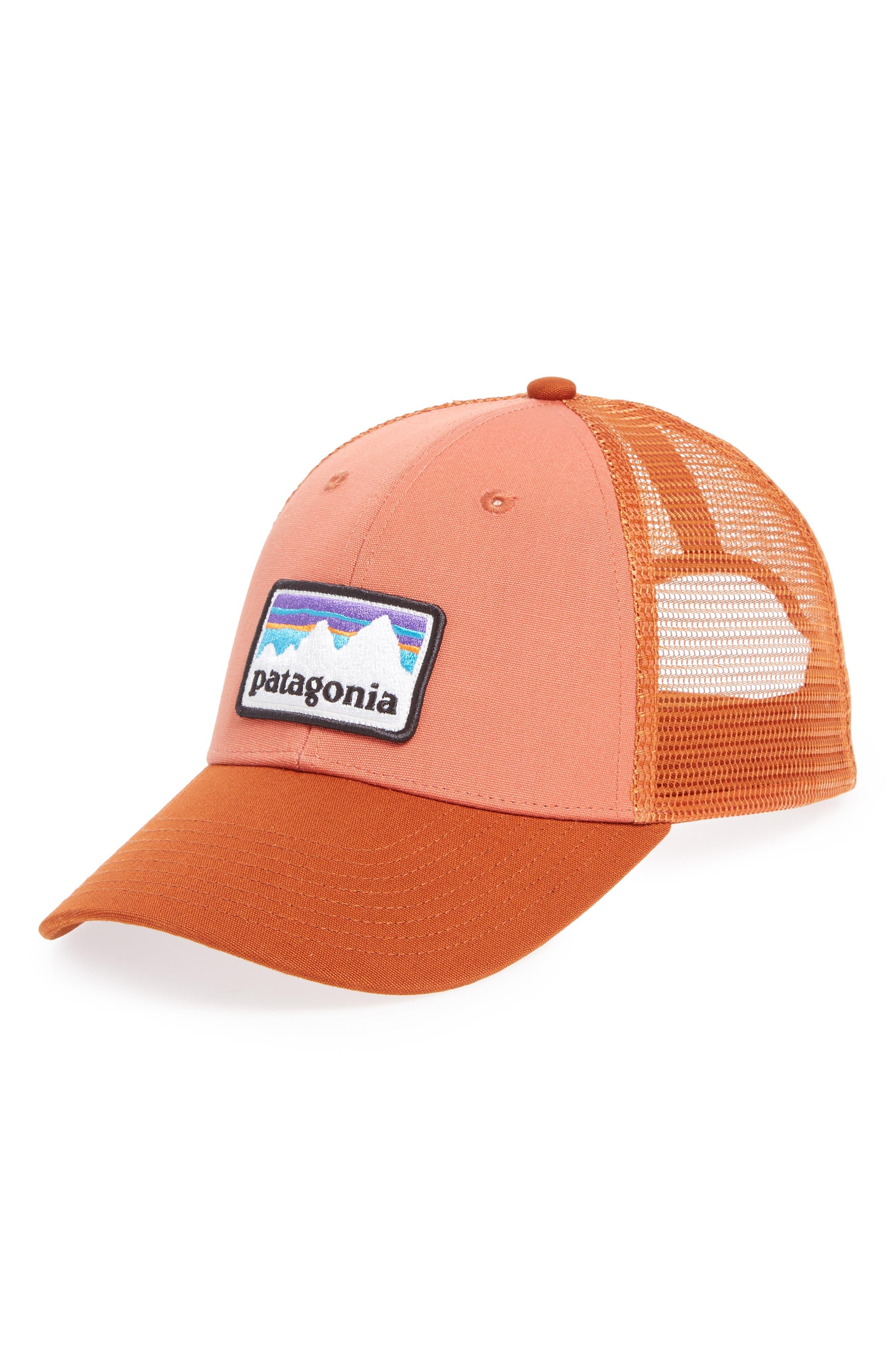 Shop Sticker Trucker Hat,                             Main thumbnail 1, color,                             Quartz Coral