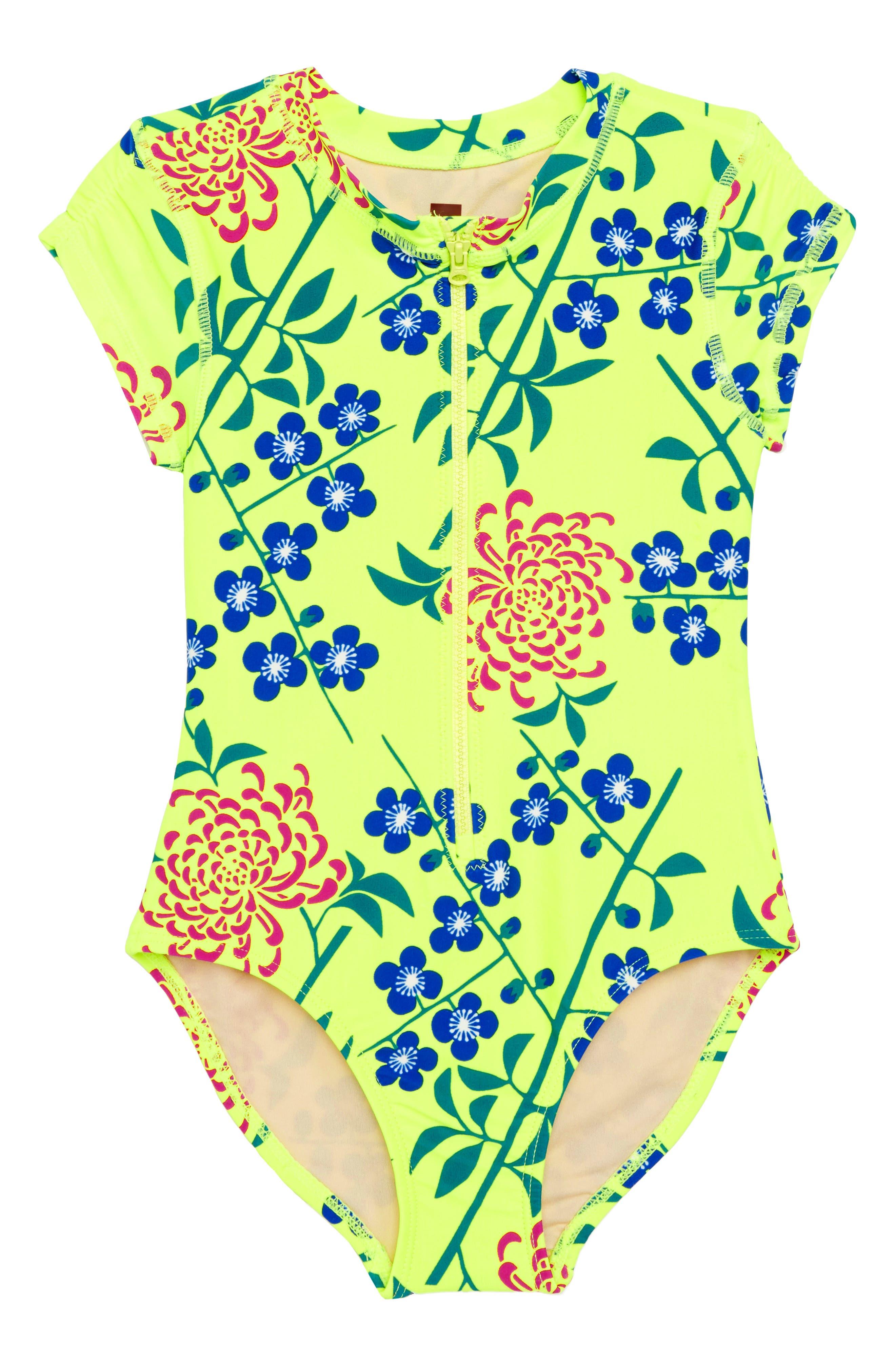 Short Sleeve Rashguard,                         Main,                         color, Branch Blossoms