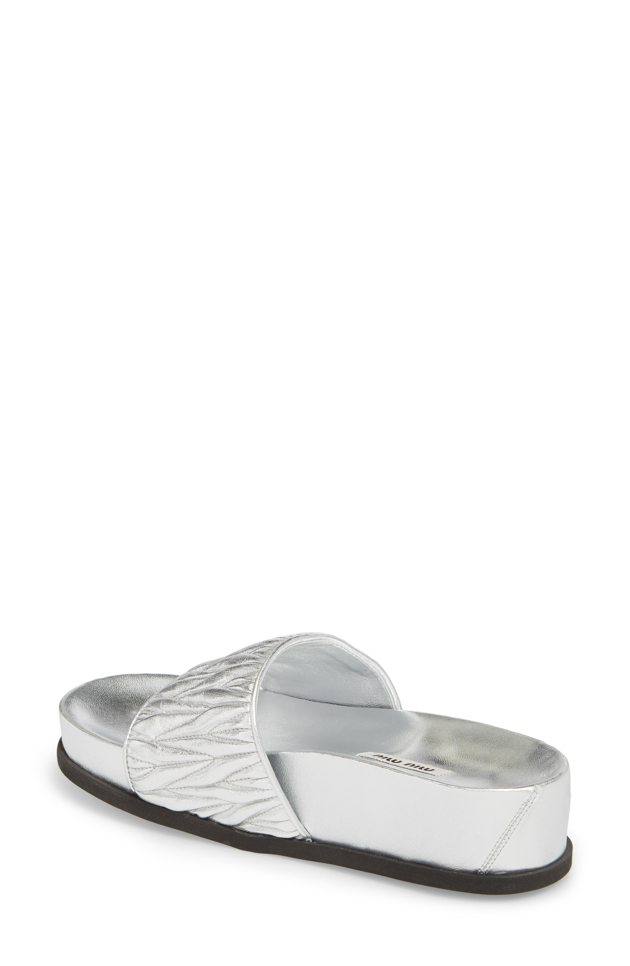 Matelassé Slide Sandal,                             Alternate thumbnail 2, color,                             Silver