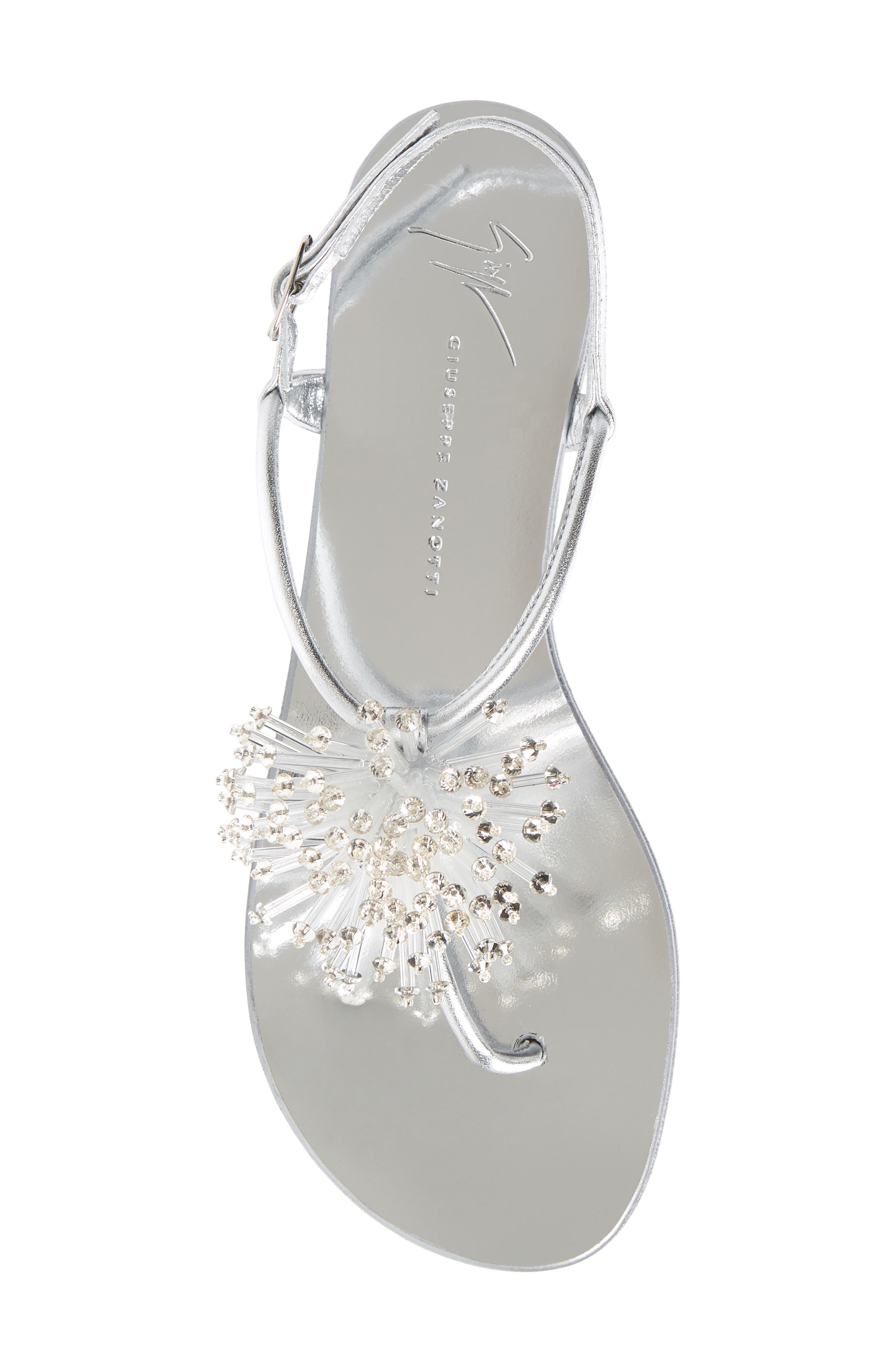 Guiseppe Zanotti Flower Burst Sandal,                             Alternate thumbnail 5, color,                             Silver