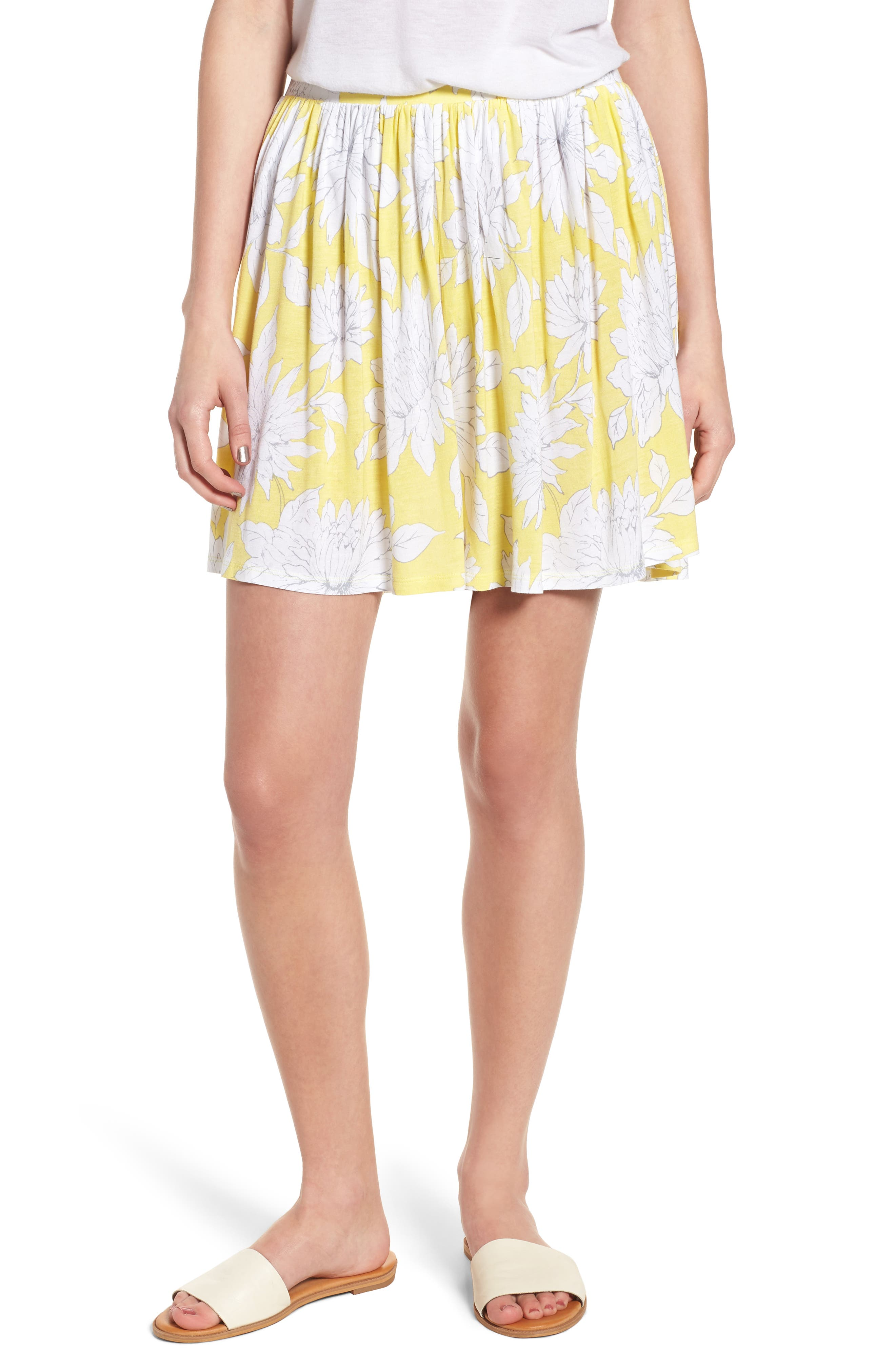 Print Wide Leg Shorts,                         Main,                         color, Yellow Glow Grunge Floral