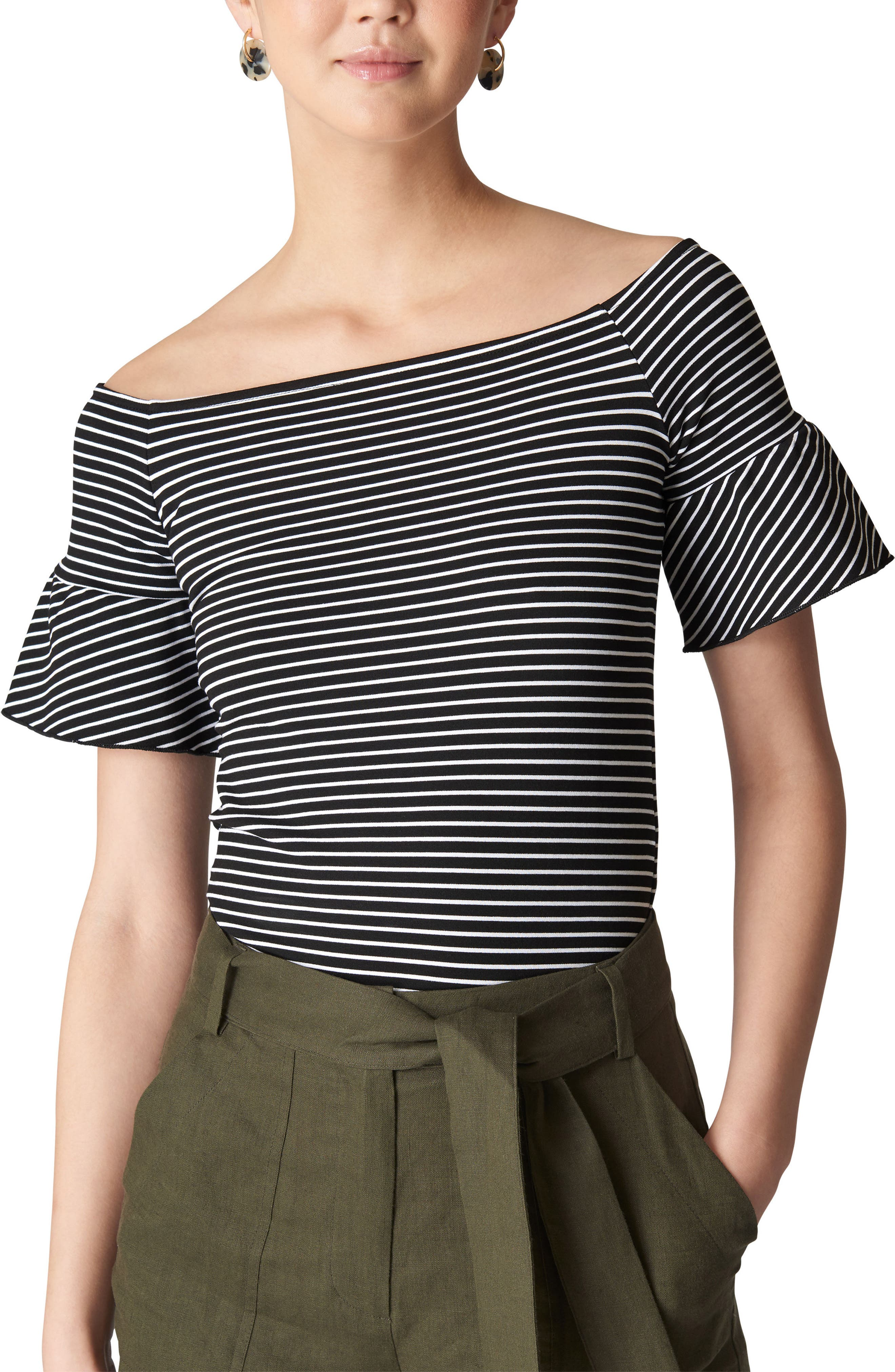 Whistles Stripe Off the Shoulder Top