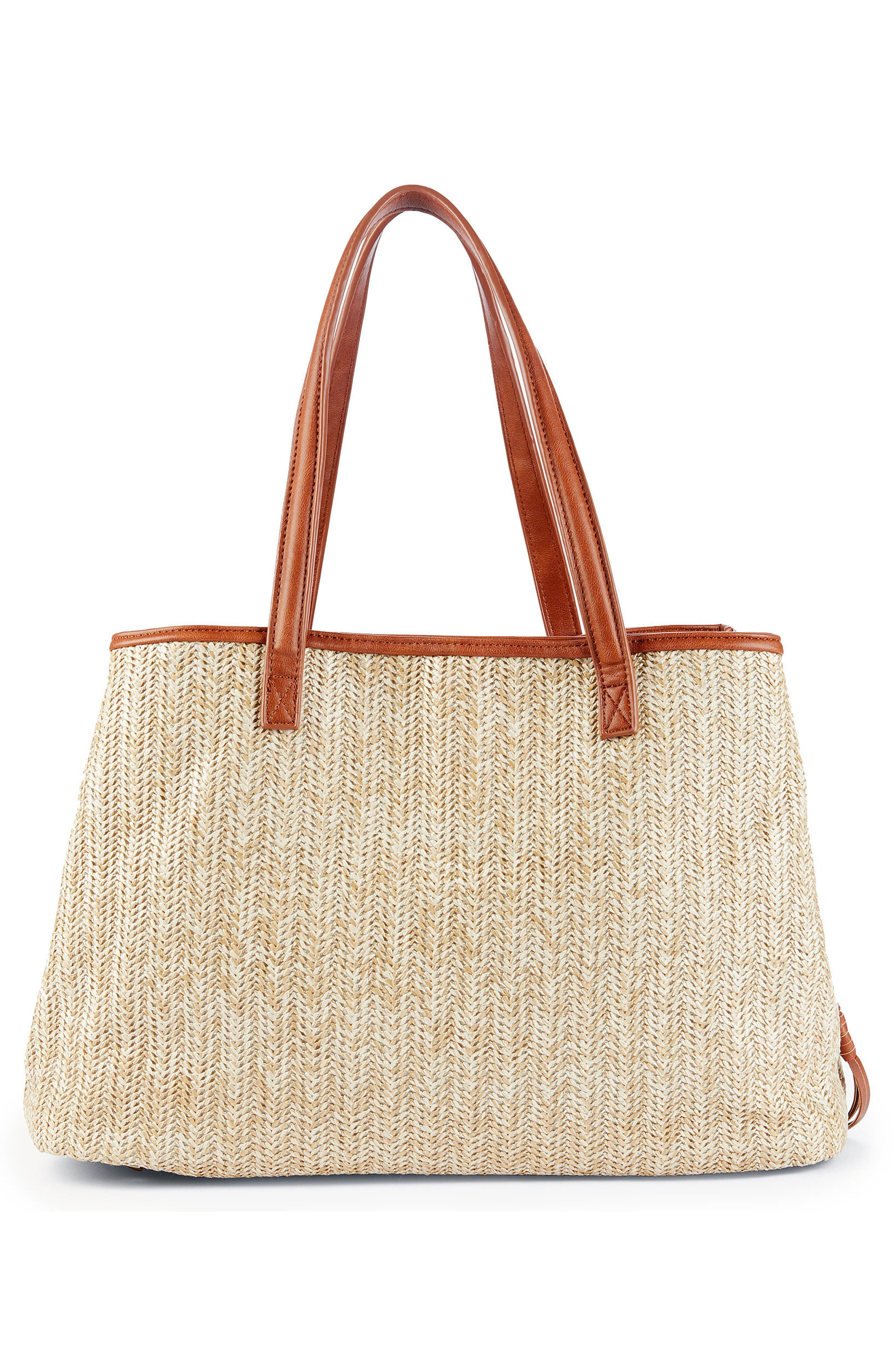 Pipper Faux Leather Tote,                             Alternate thumbnail 3, color,                             Natural