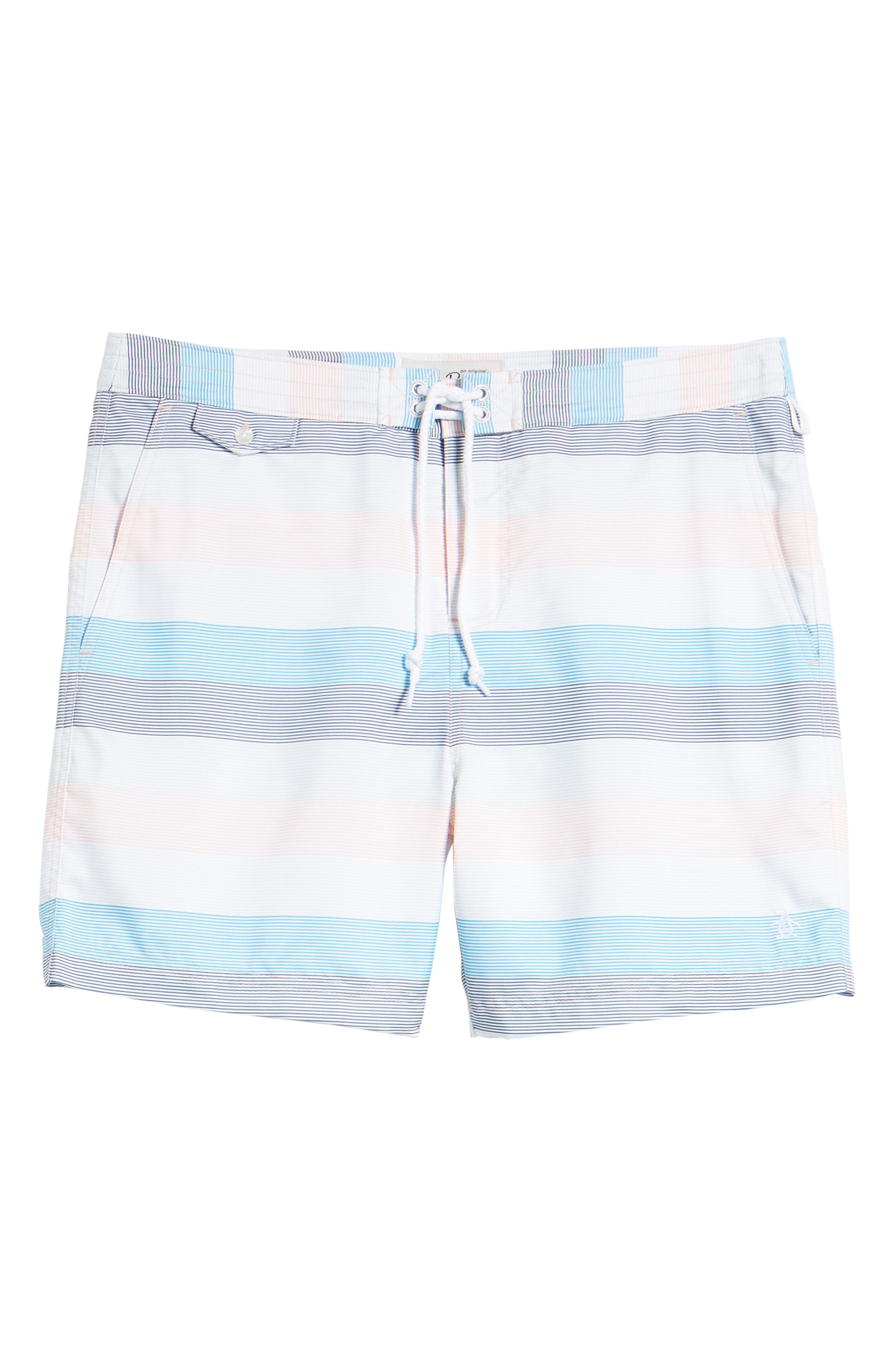 Stripe Volley Board Shorts,                             Alternate thumbnail 6, color,                             Impatiens Pink