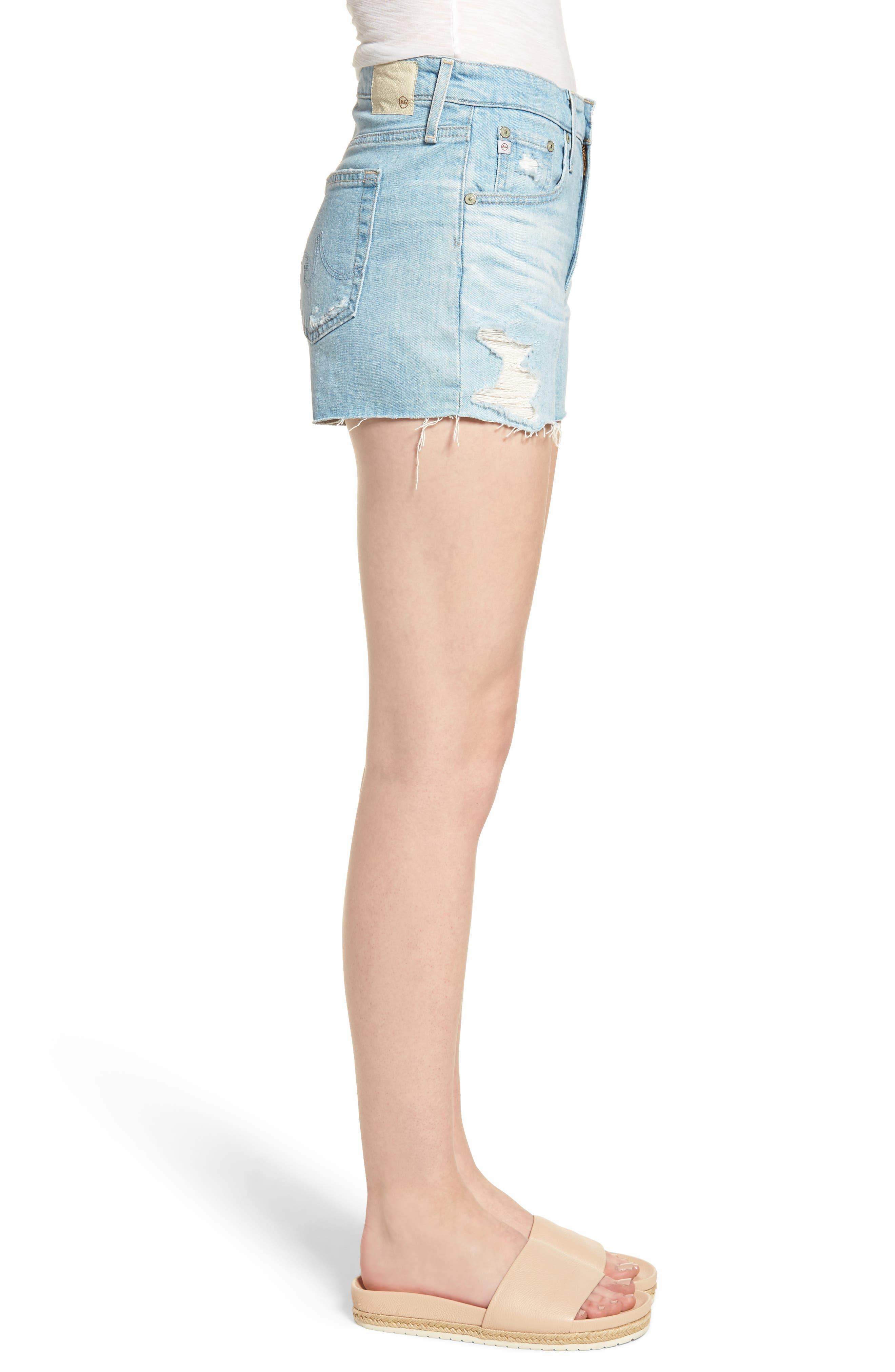 Bryn High Waist Cutoff Denim Shorts,                             Alternate thumbnail 3, color,                             23 Years Cerulean Chase