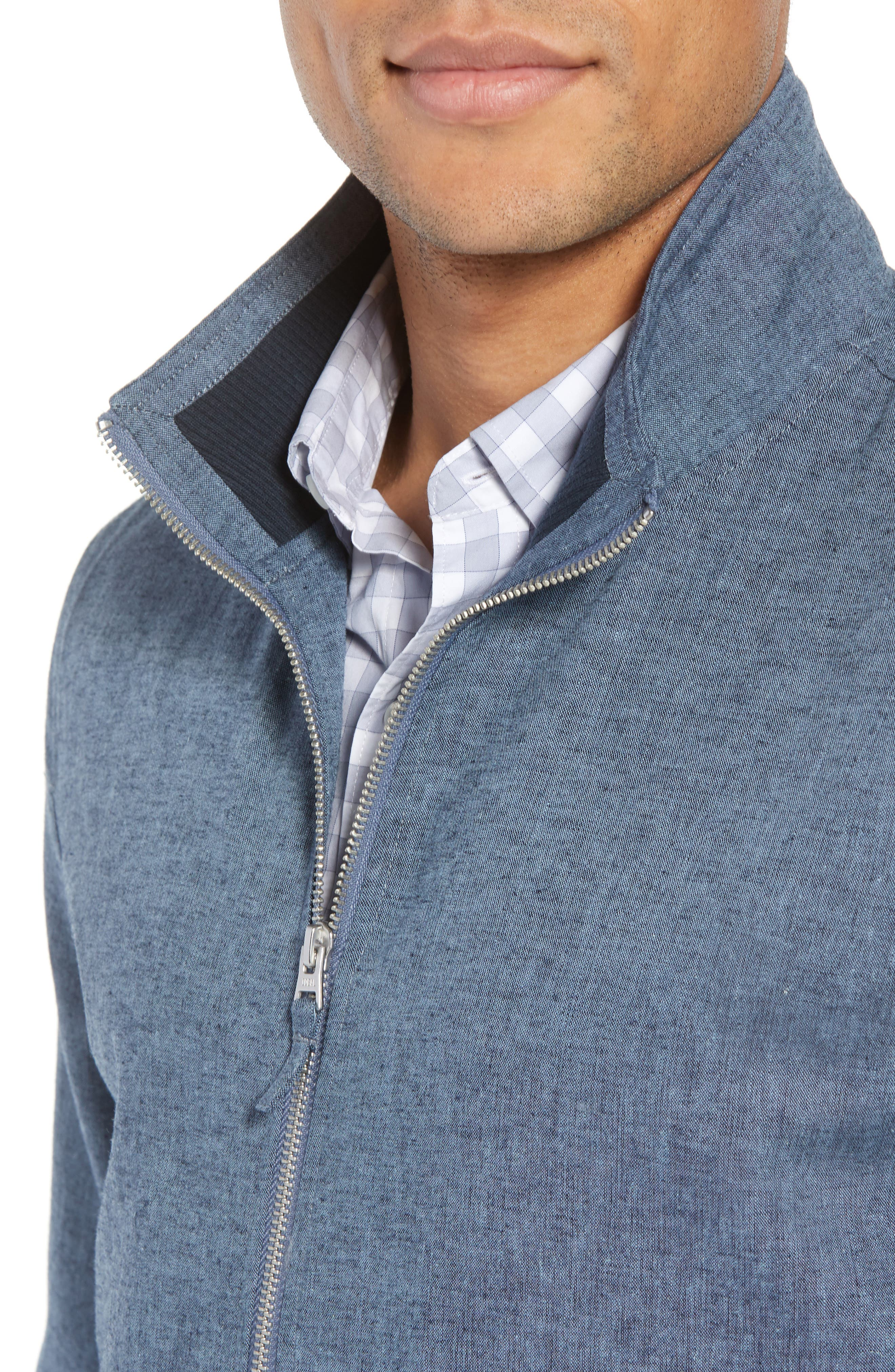 Linen & Cotton Chambray Bomber Jacket,                             Alternate thumbnail 4, color,                             Solid - Chambray