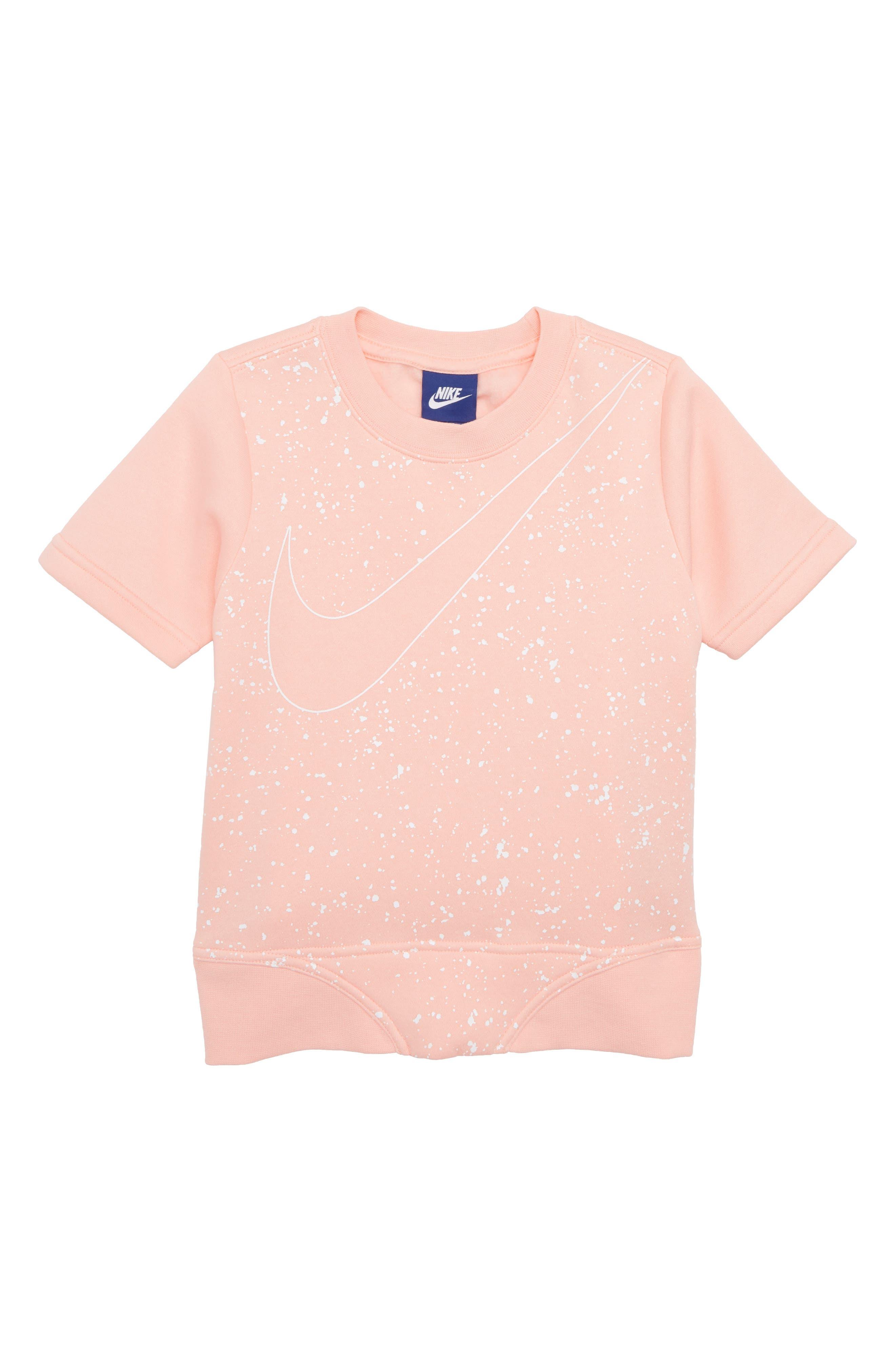 Sportswear Short Sleeve Sweatshirt,                         Main,                         color, Bleached Coral/ White