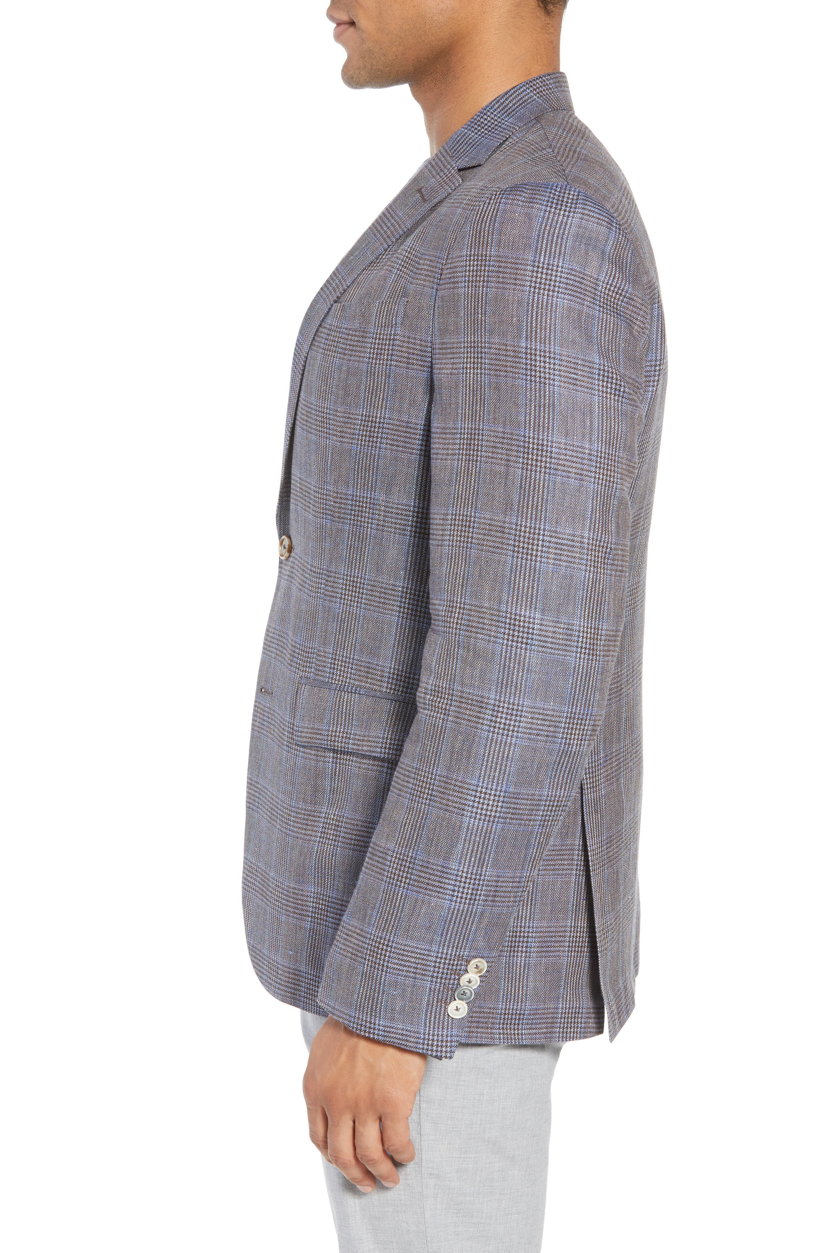 Glenn Trim Fit Plaid Linen Blend Sport Coat,                             Alternate thumbnail 3, color,                             Cognac