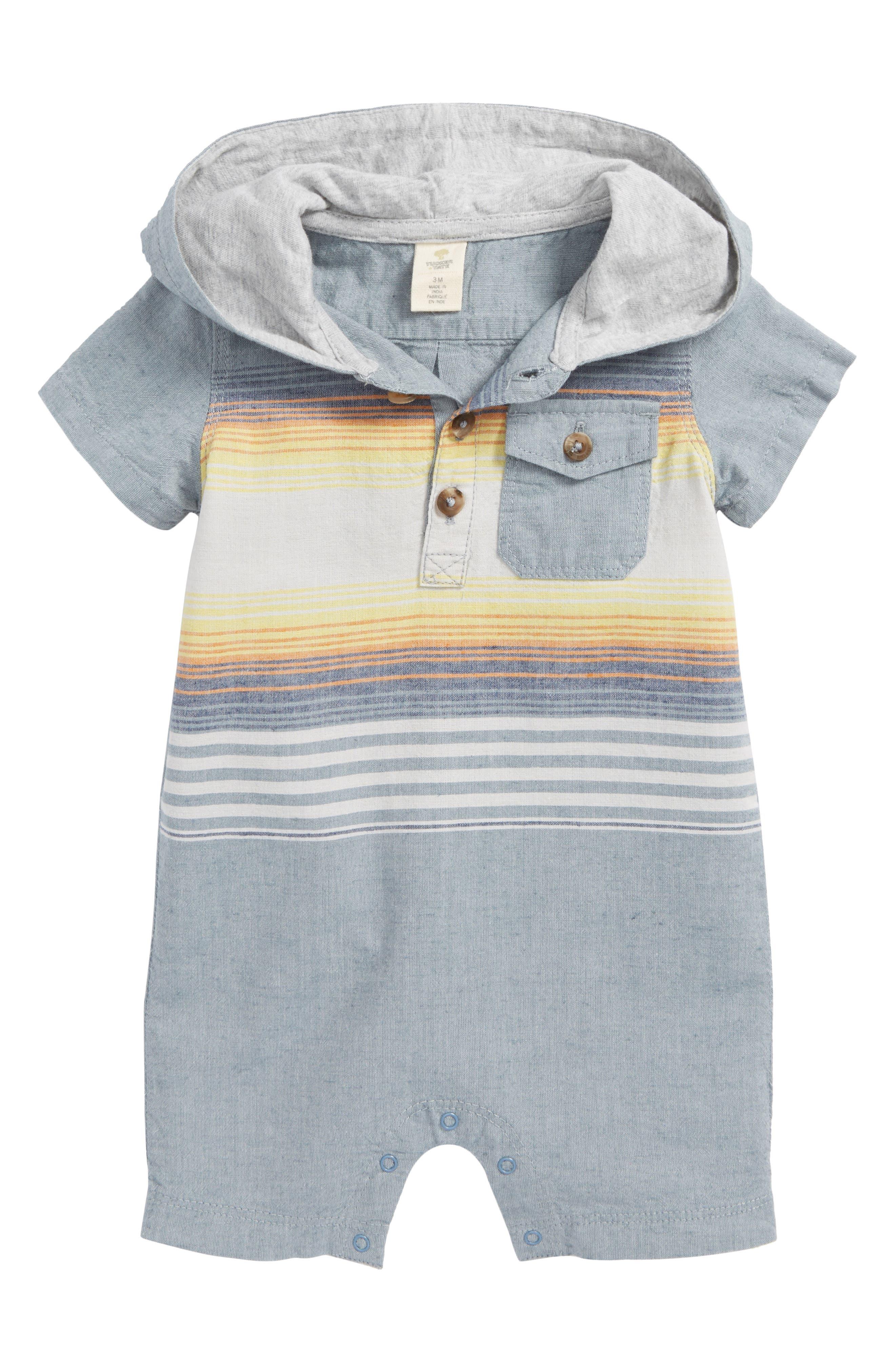 Stripe Hooded Romper,                             Main thumbnail 1, color,                             Blue Chambray Sunset Stripe