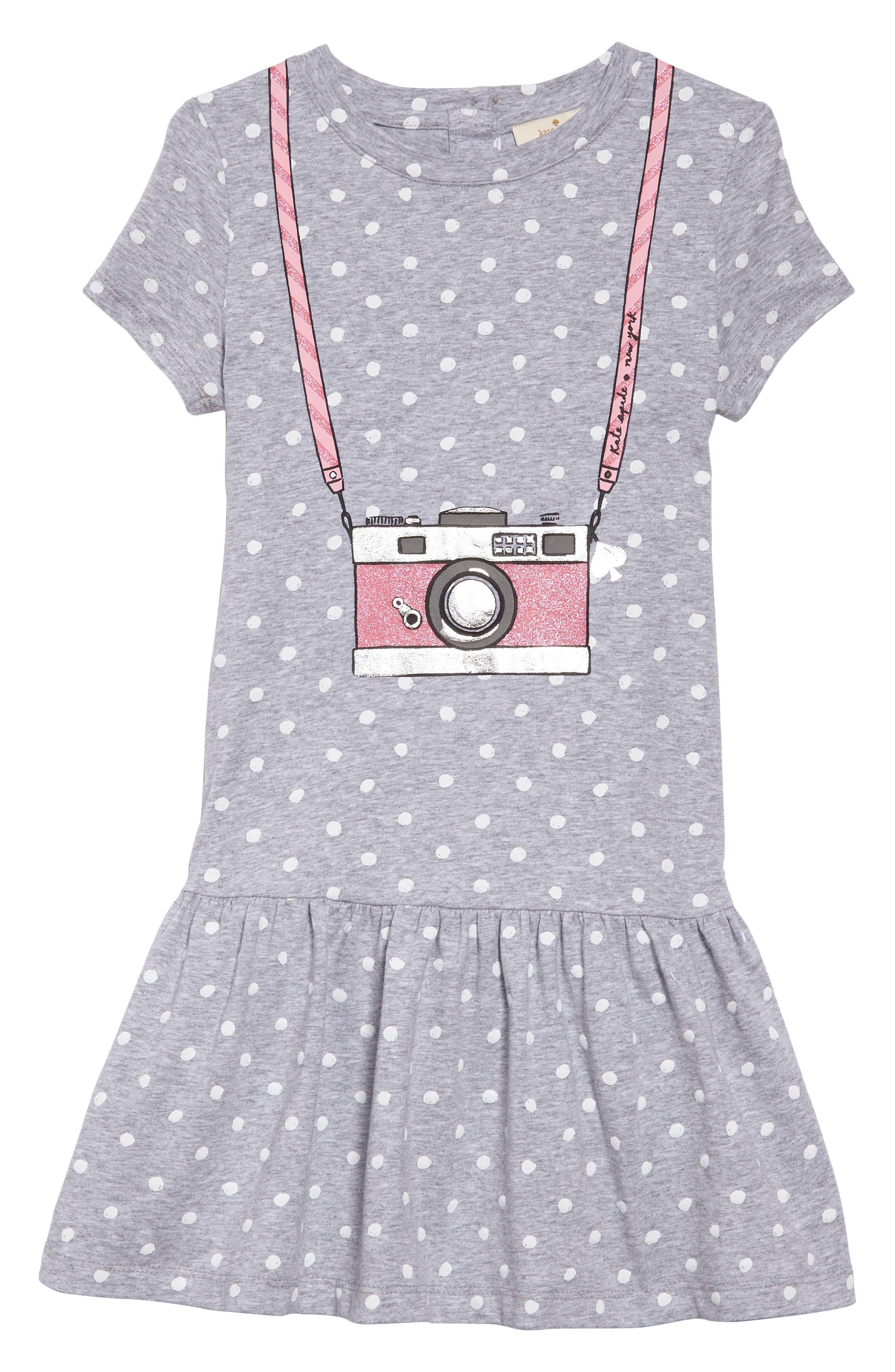 camera polka dot dress,                             Main thumbnail 1, color,                             Heather Grey