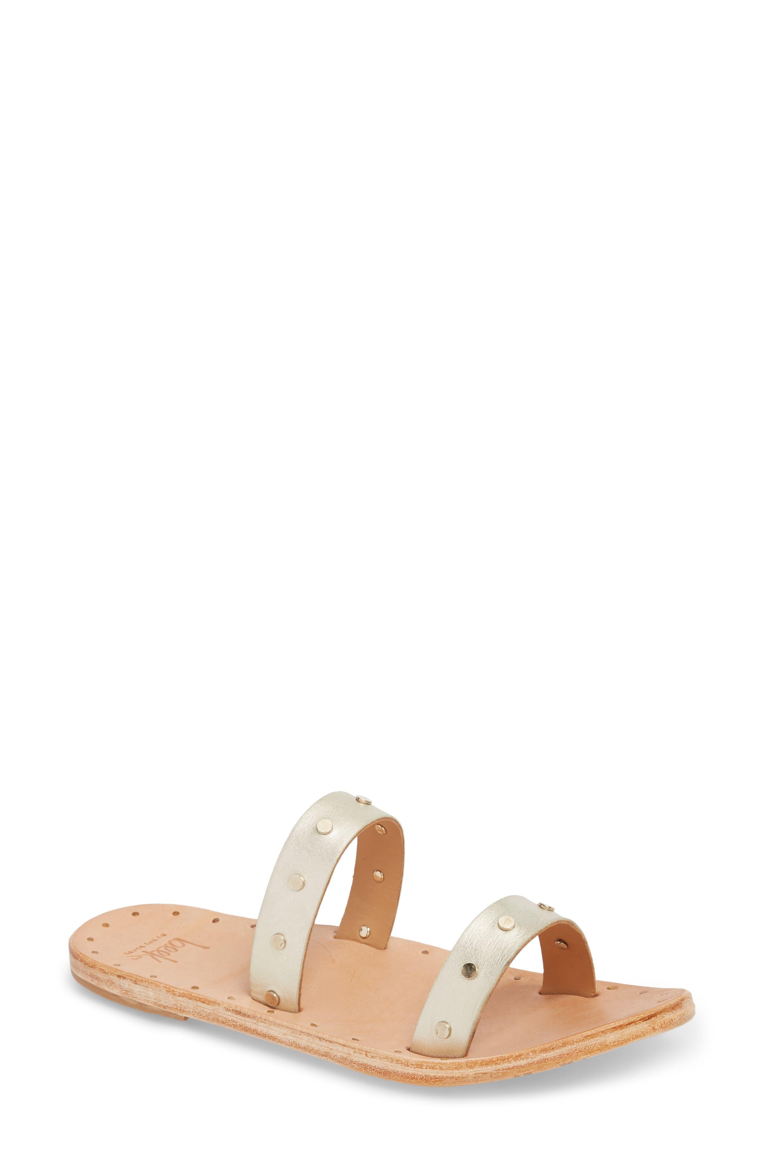 Woodpecker Studded Slide Sandal,                         Main,                         color, Platinum Gold/ Nat