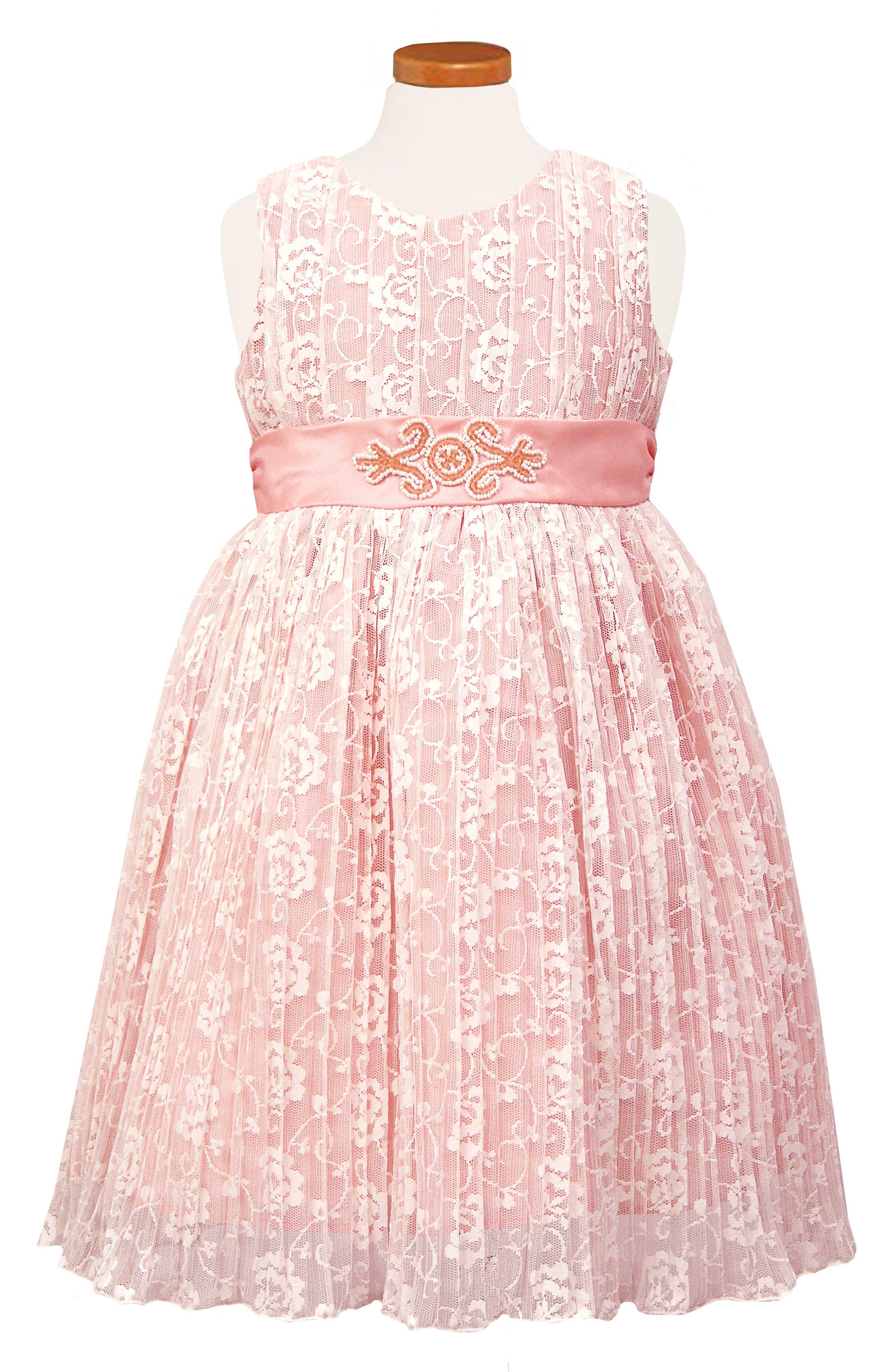 Pleat Lace Party Dress,                             Main thumbnail 1, color,                             Pink