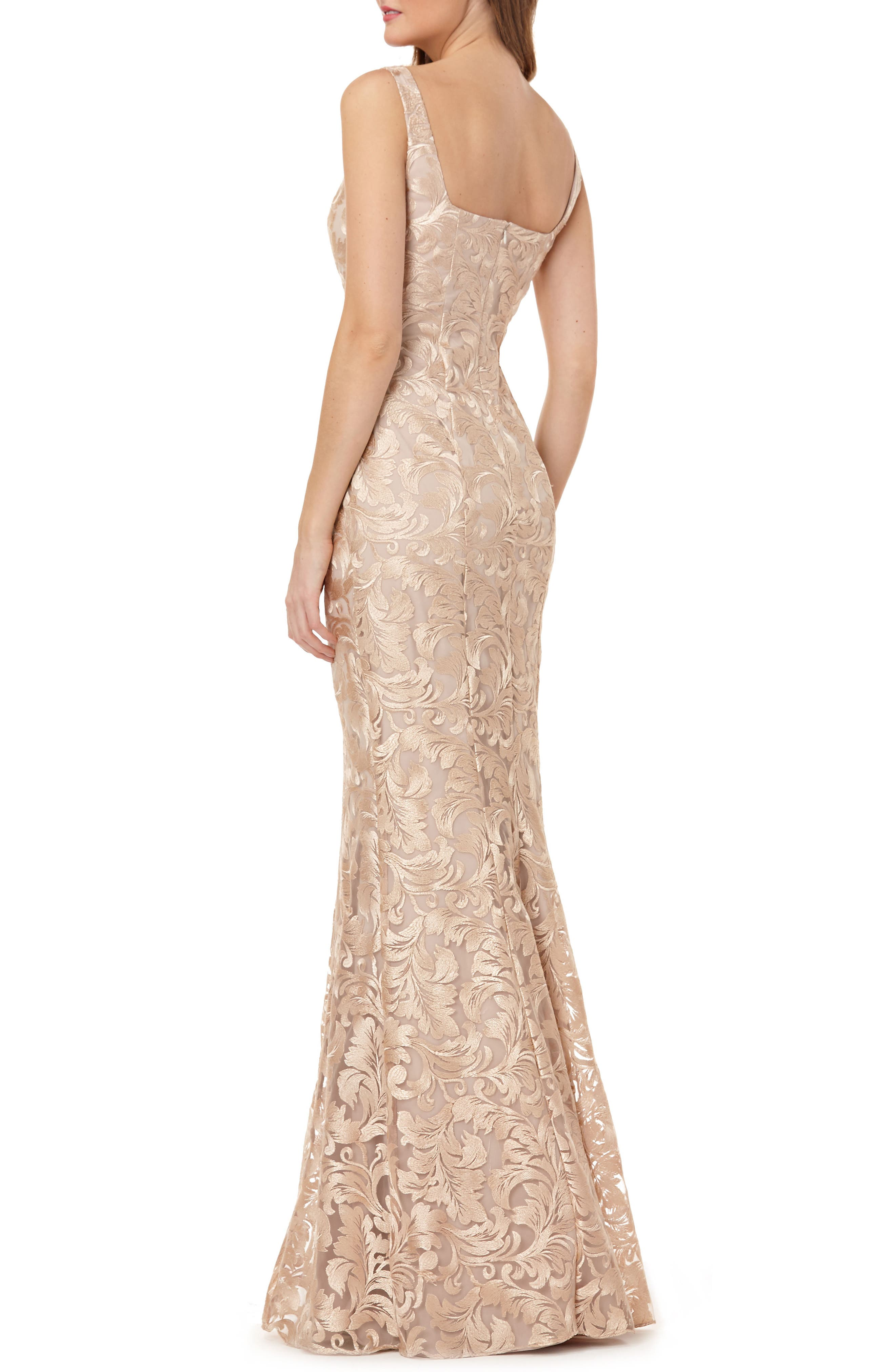 Sleeveless Metallic Embroidery Mermaid Gown,                             Alternate thumbnail 2, color,                             Champagne