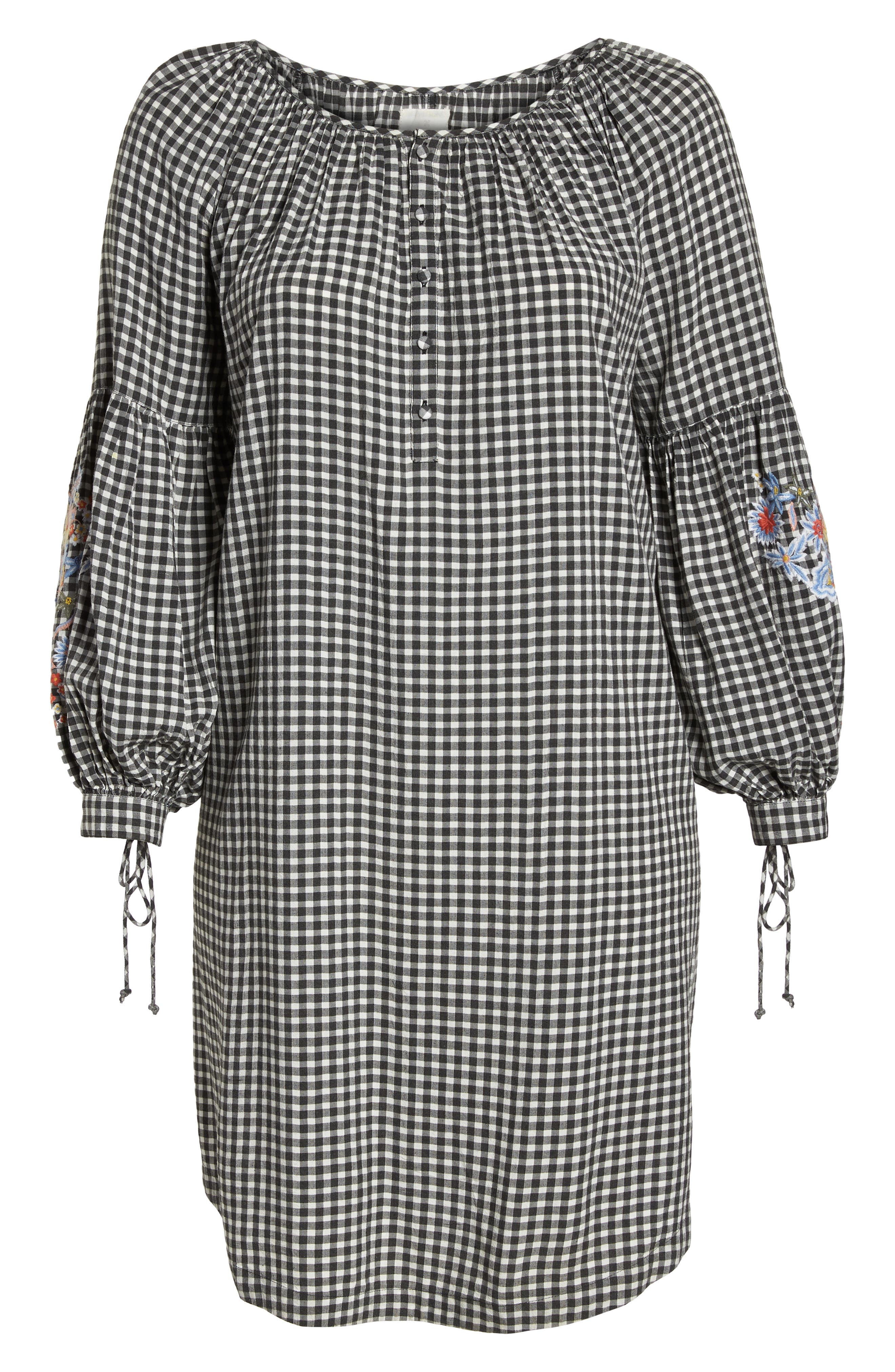 Embroidered Puff Sleeve Gingham Shift Dress,                             Alternate thumbnail 8, color,                             Black-White Gingham