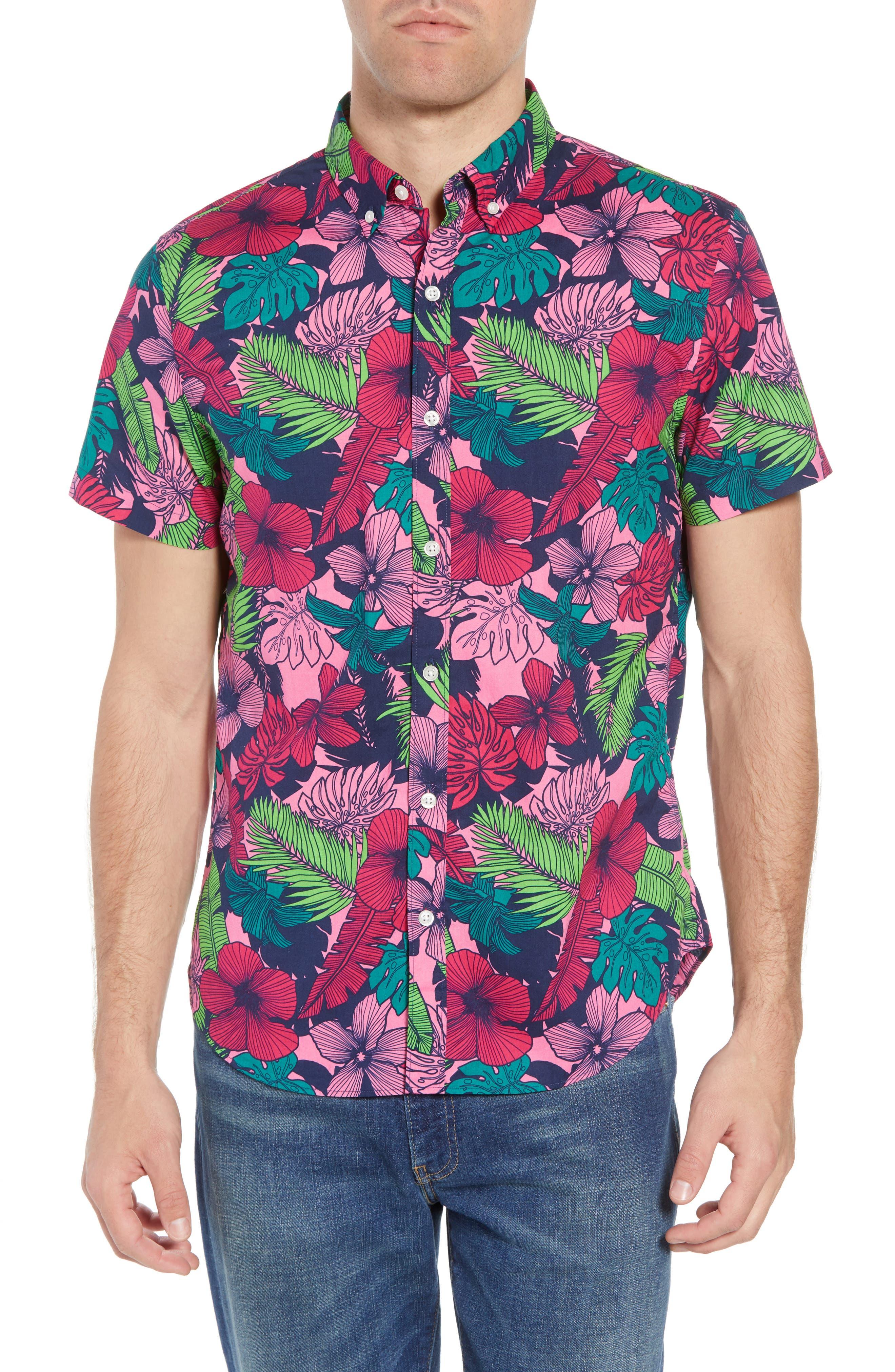 Slim Fit Floral Print Sport Shirt,                         Main,                         color, Garden Cove - Pink Rocket