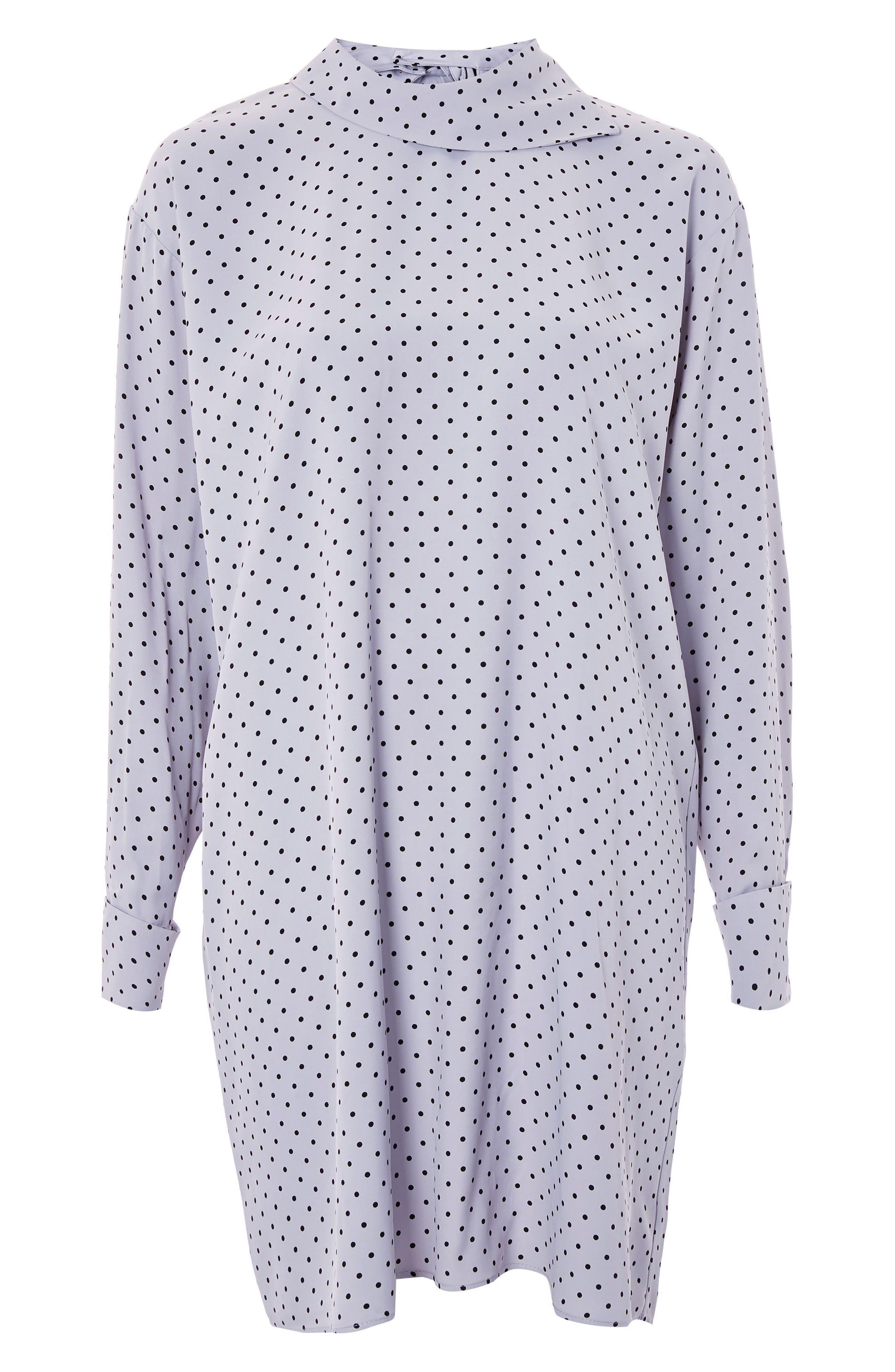 Fold Neck Spot Shift Dress,                         Main,                         color, Silver