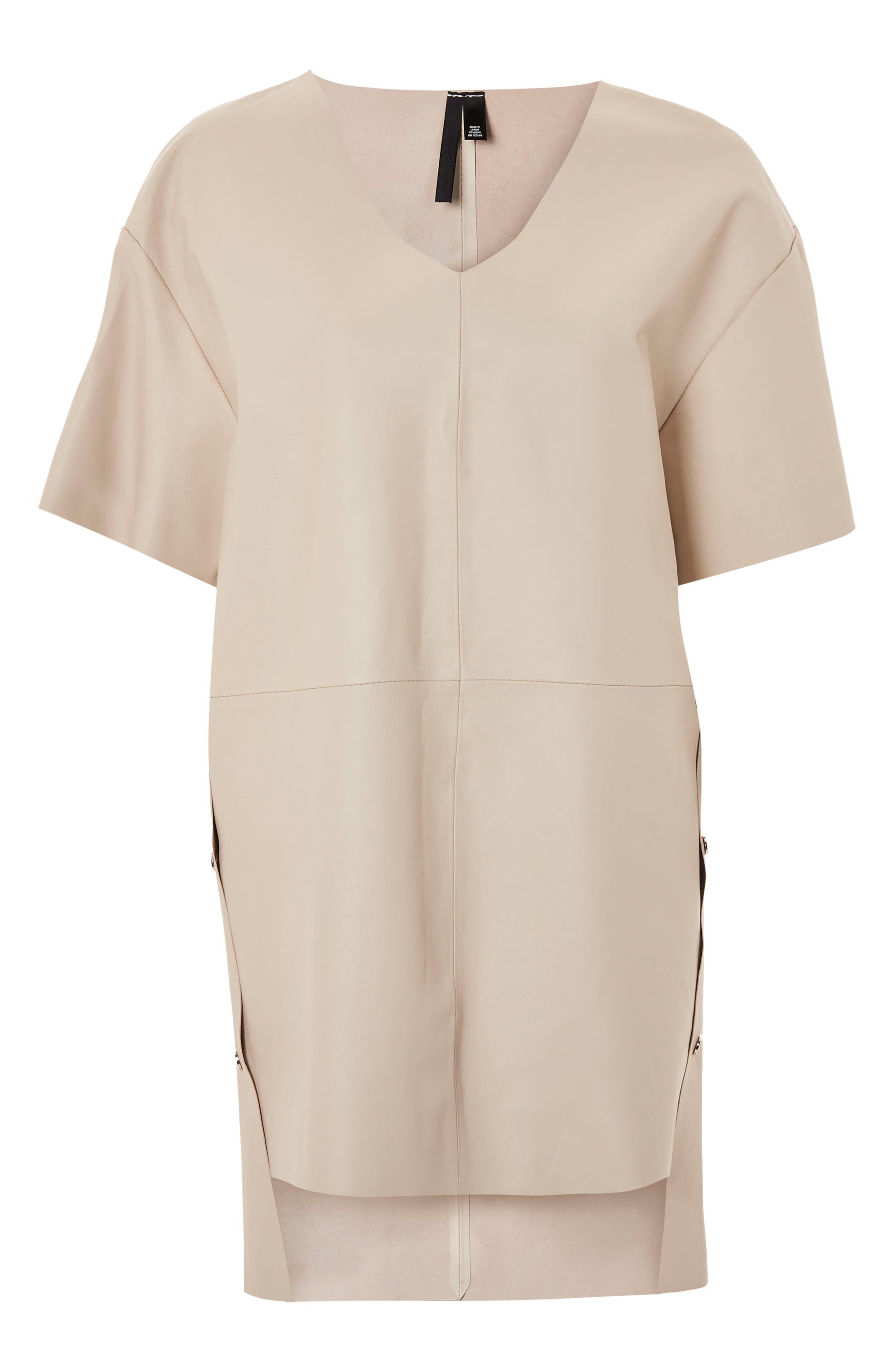 Leather V-Neck Dress,                             Main thumbnail 1, color,                             Cream
